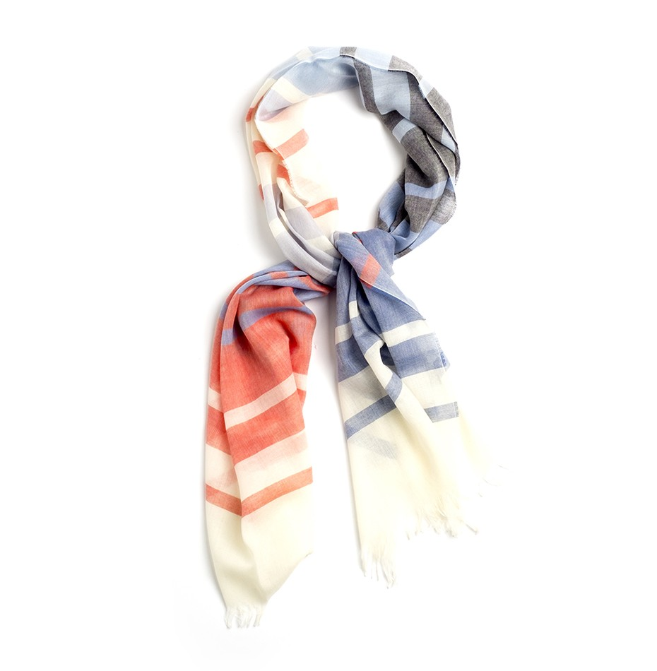 Private White V.C. Johnstons of Elgin Merino Scarf - Multi Stripe
