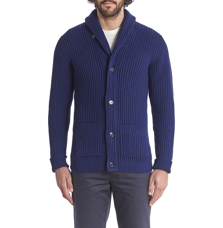 Private White V.C. Cashmere Shawl Collar Cardigan - Navy