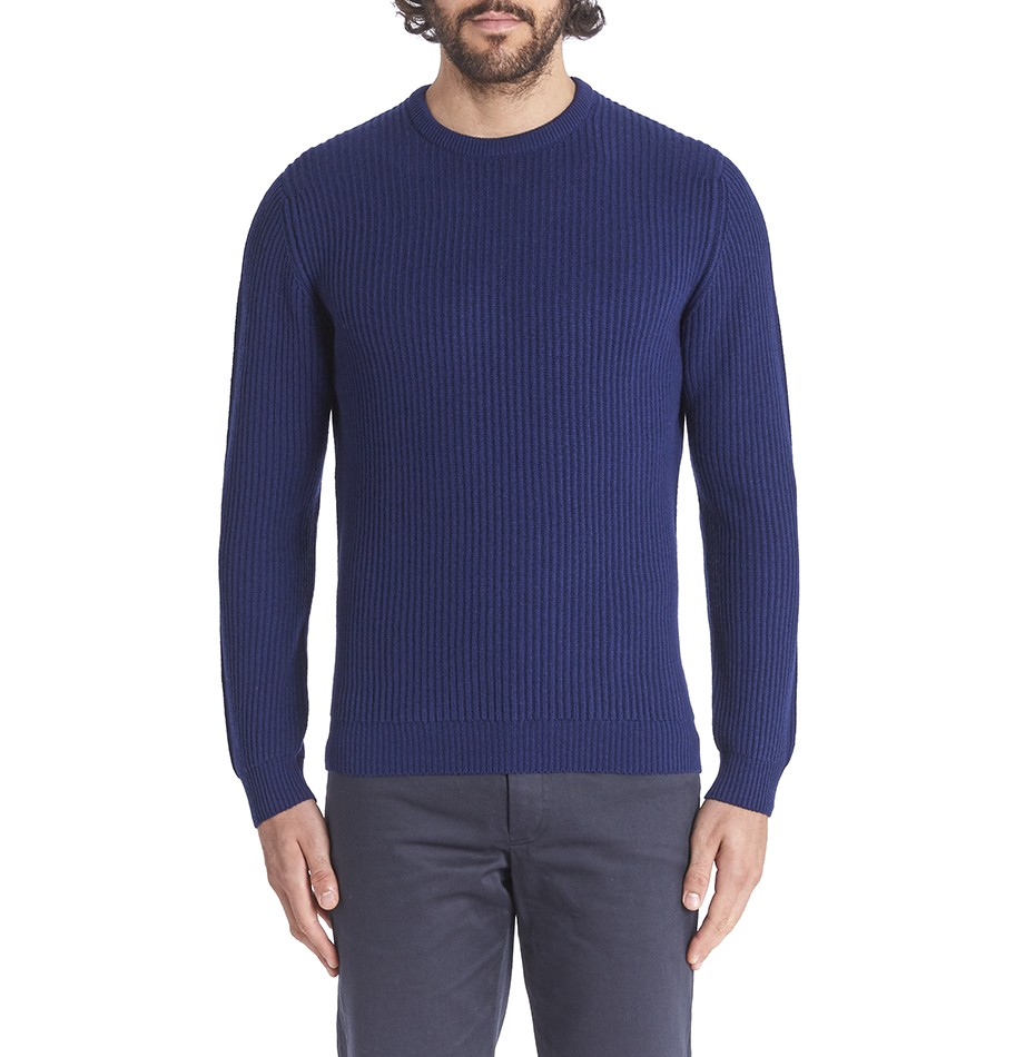 Private White V.C. Cashmere Ribbed Crew Neck - Navy