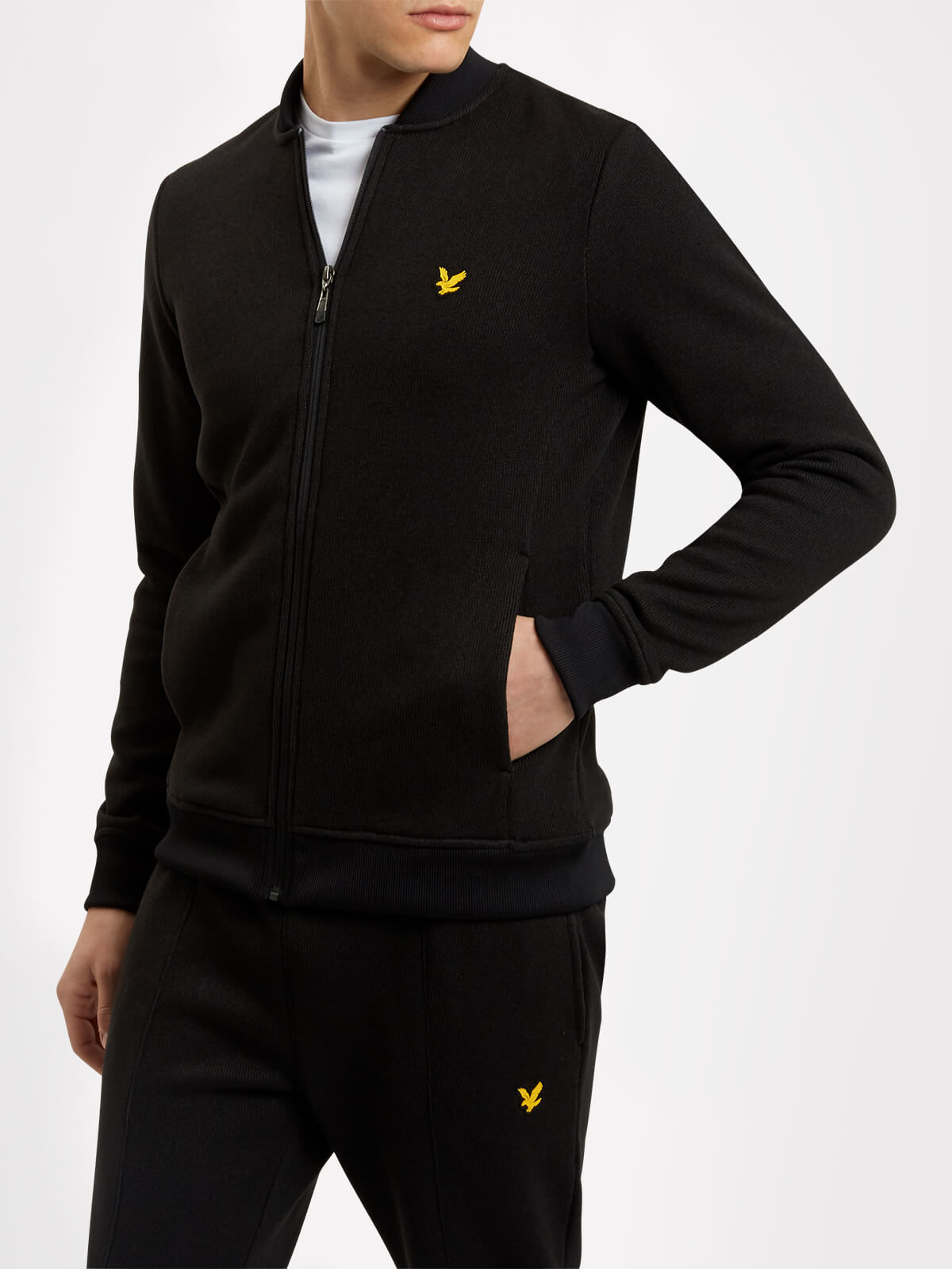 Lyle and Scott True Black James Sports Knitted Fleece Midlayer