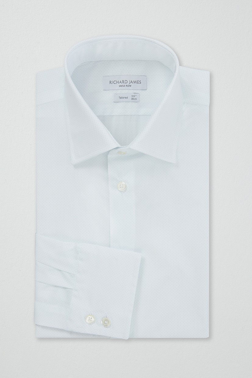 Richard James Tailored Shirt - Aqua Pin Spot
