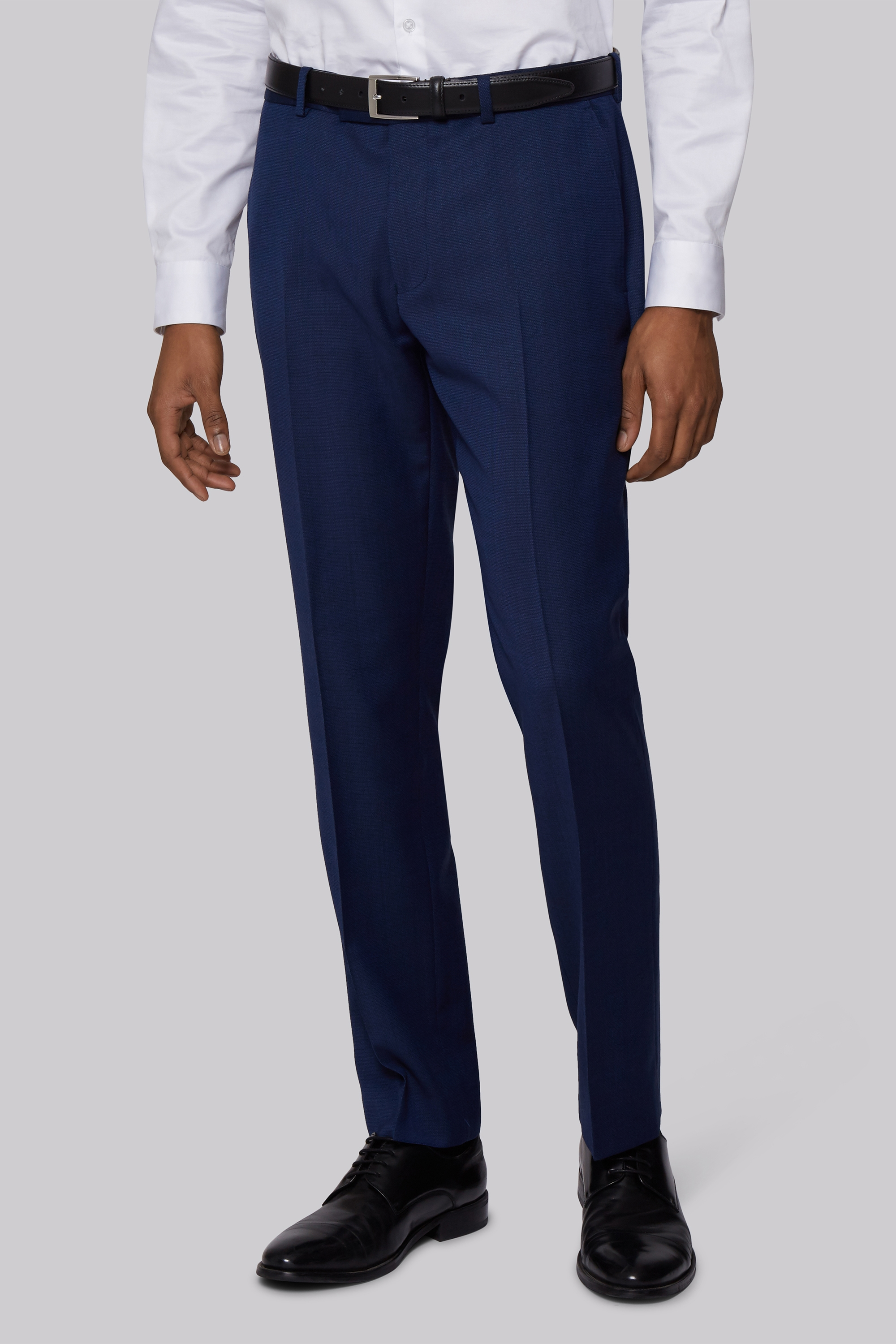 Moss Bros DKNY Slim Fit Blue Texture Trousers