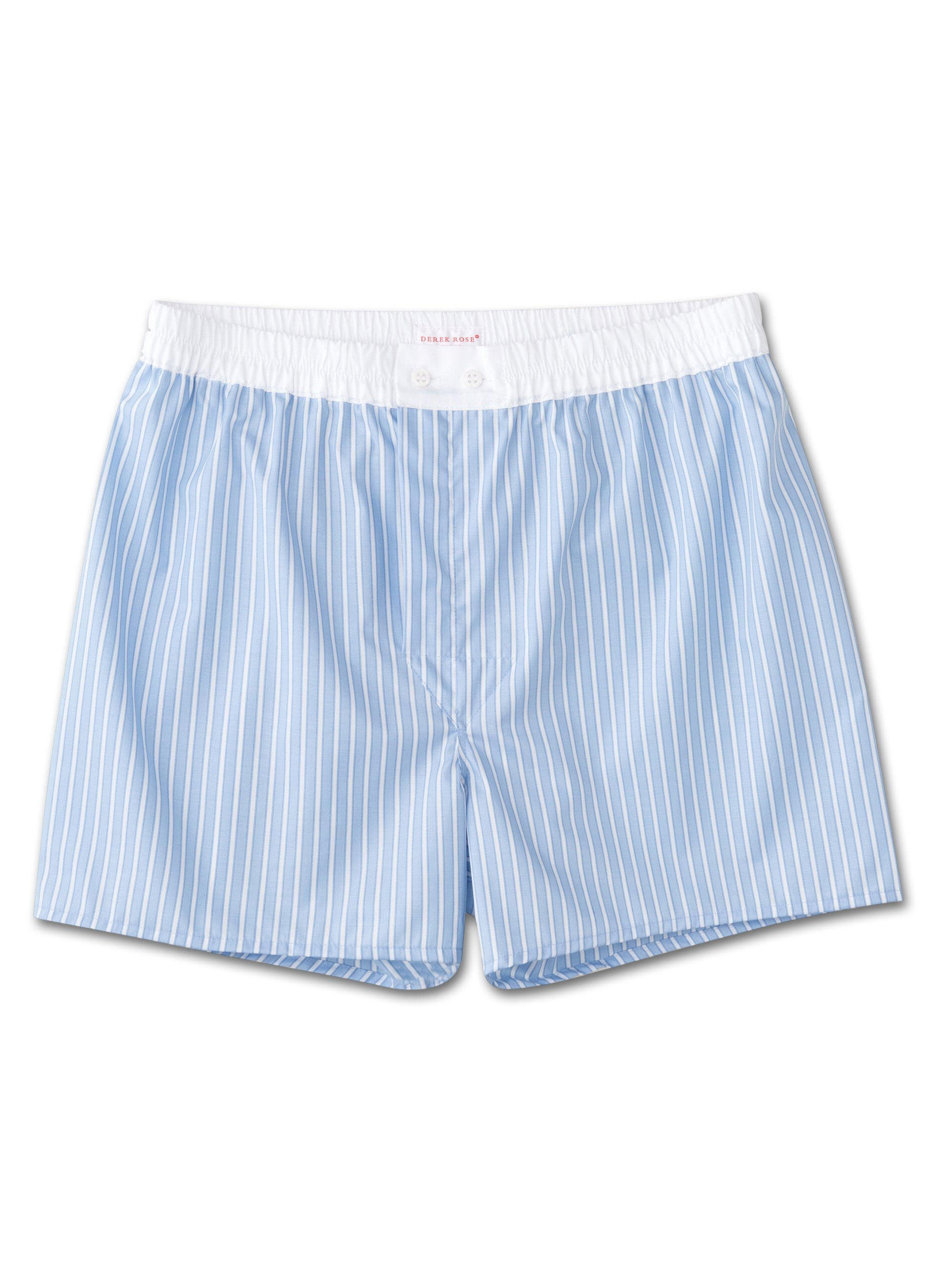 Derek Rose Men's Classic Fit Boxer Shorts — Jermyn Pure Cotton Stripe Blue White