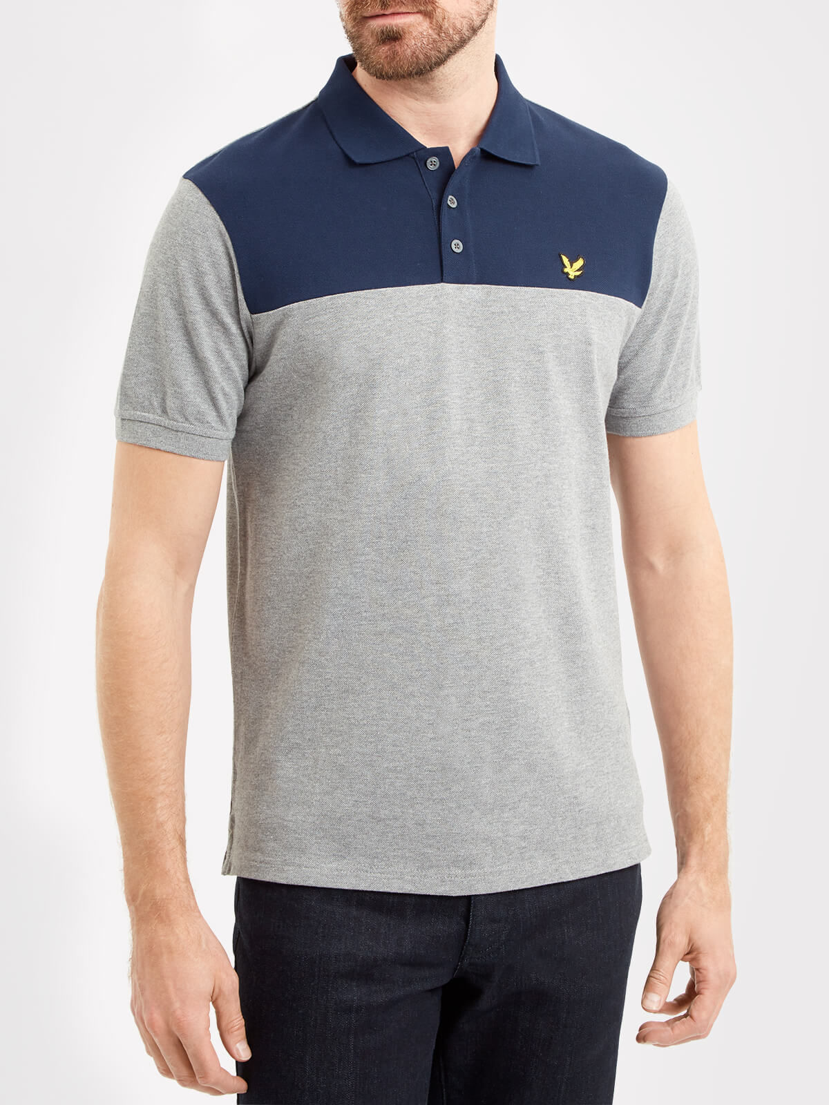 Lyle and Scott Mid Grey Marl Yoke Polo Shirt