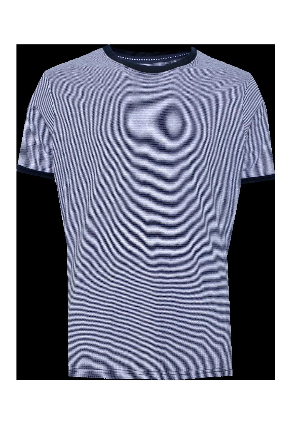 boohooMAN navy Stripe Crew Neck T-Shirt With Contrast Collar