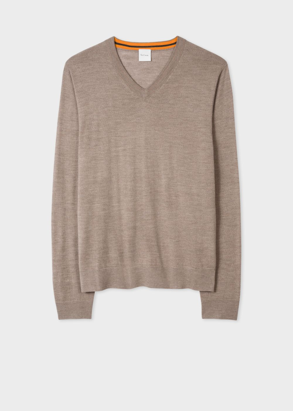 Paul Smith Men's Taupe Marl V-Neck Merino Wool Sweater
