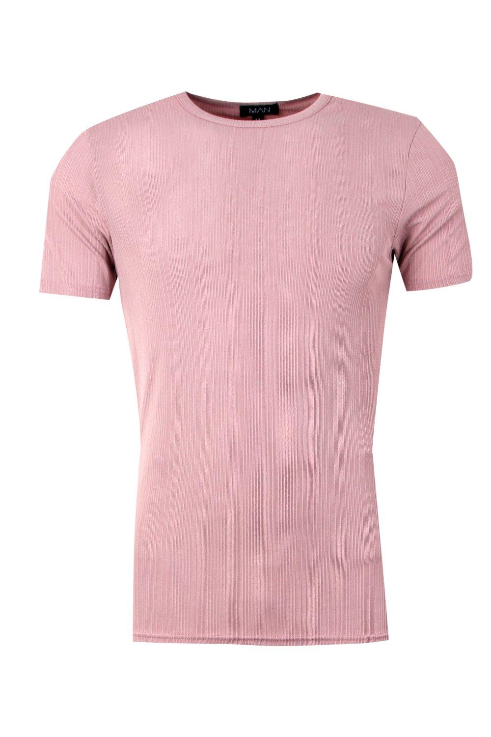 boohooMAN pink Muscle Fit Fine Ribbed T-Shirt