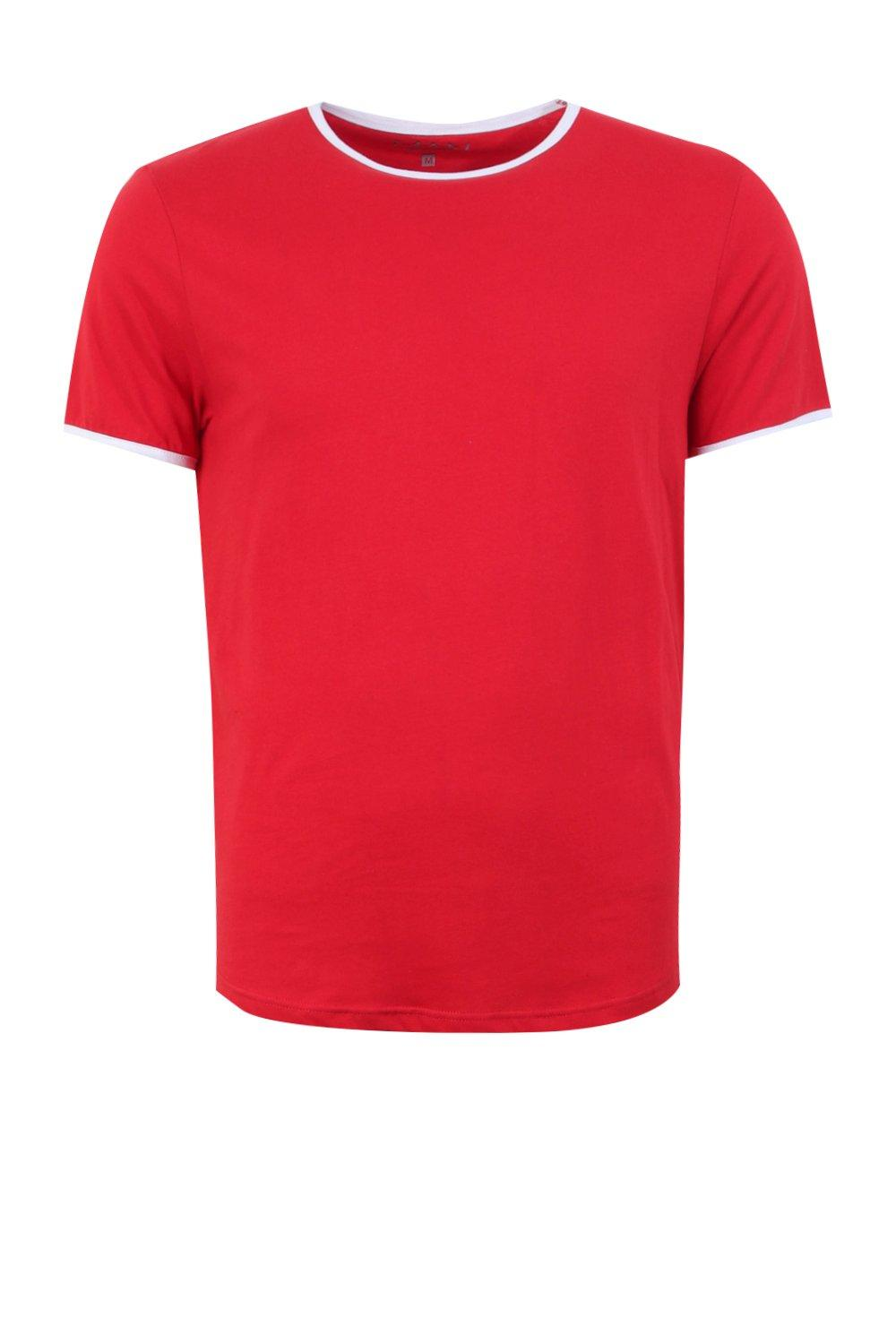 boohooMAN red Ringer T-Shirt With Curve Hem