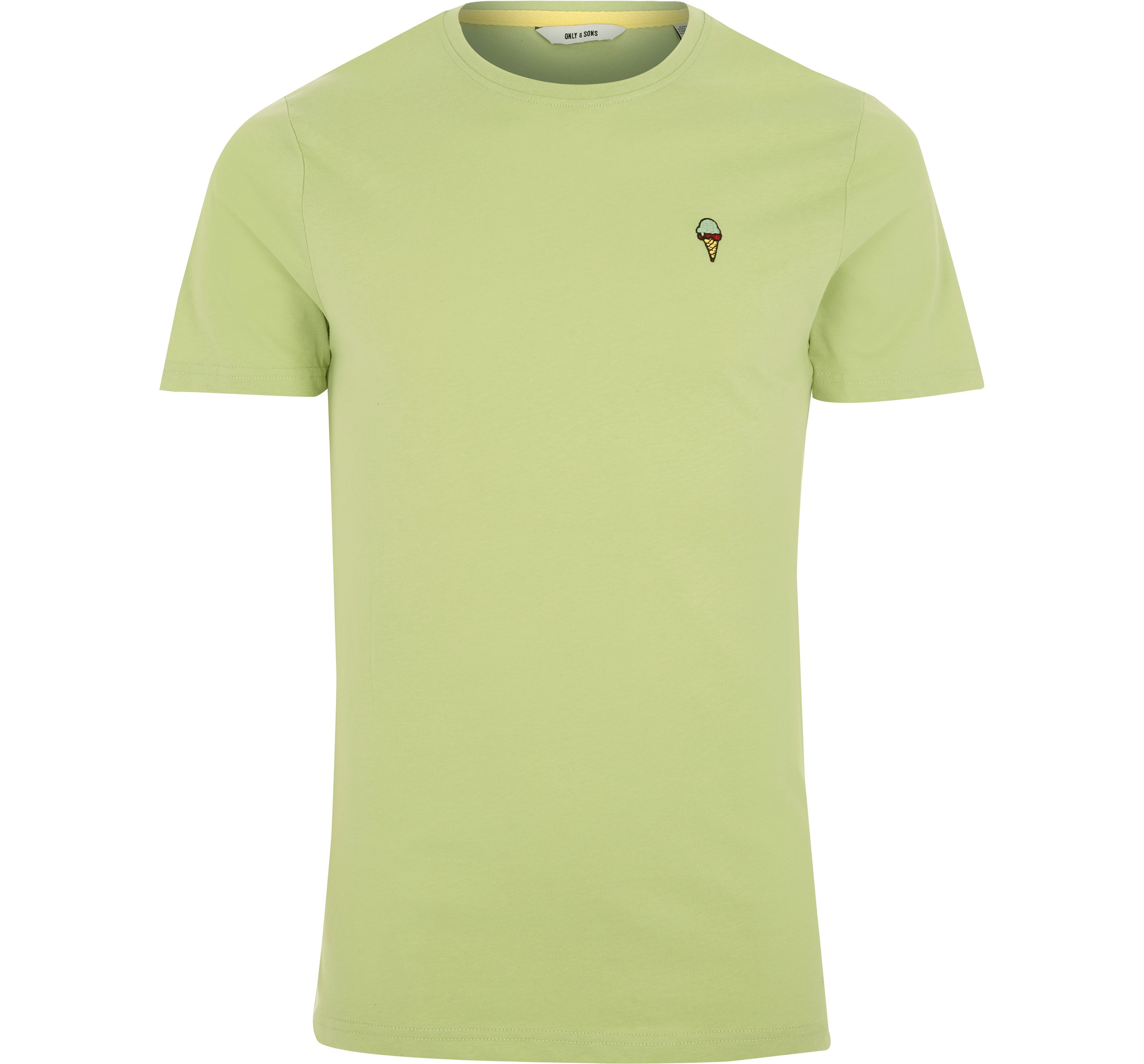 River Island Mens Only and Sons Green embroidered T-shirt