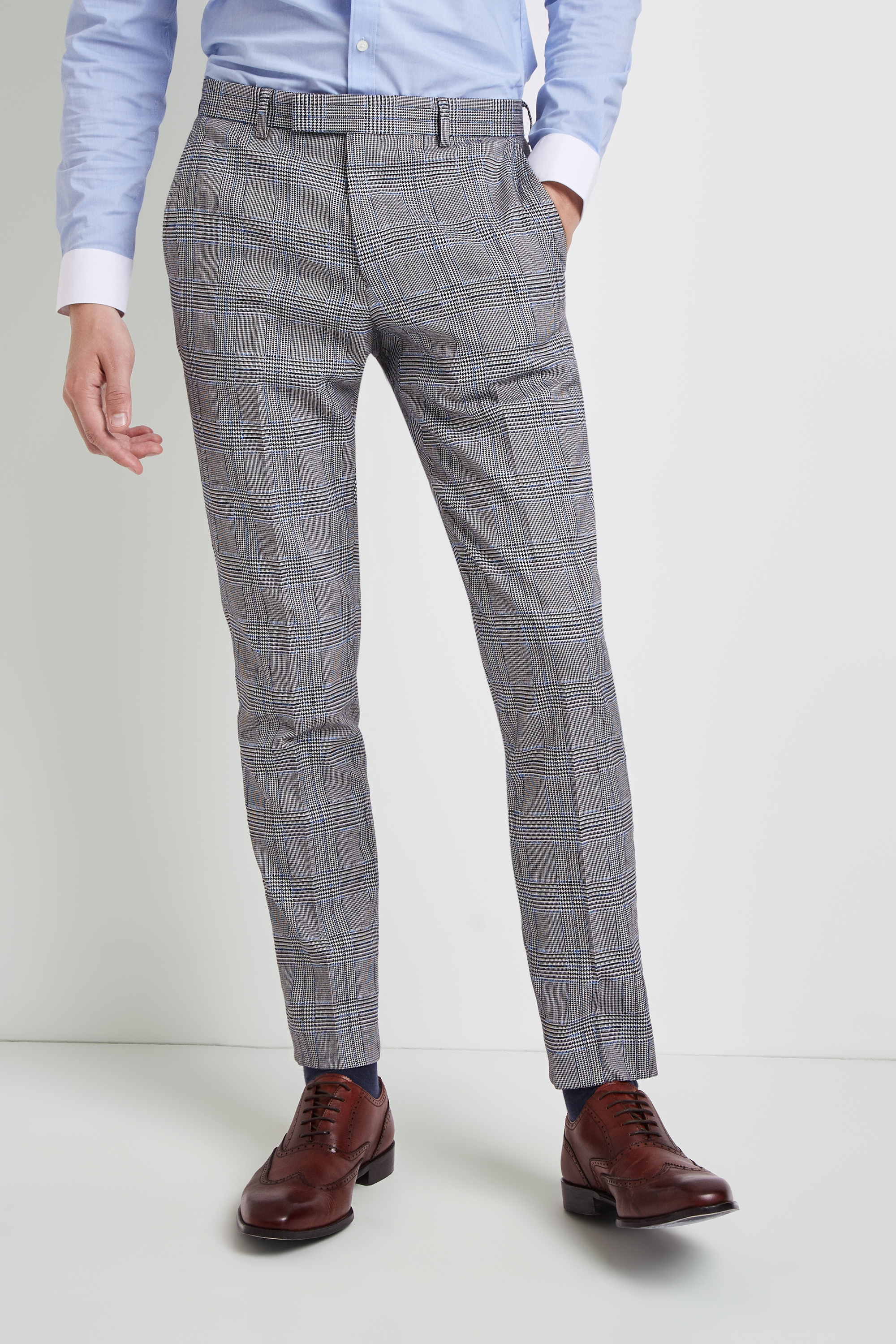 Moss Bros Moss London Skinny Fit Black and White Sky Trousers