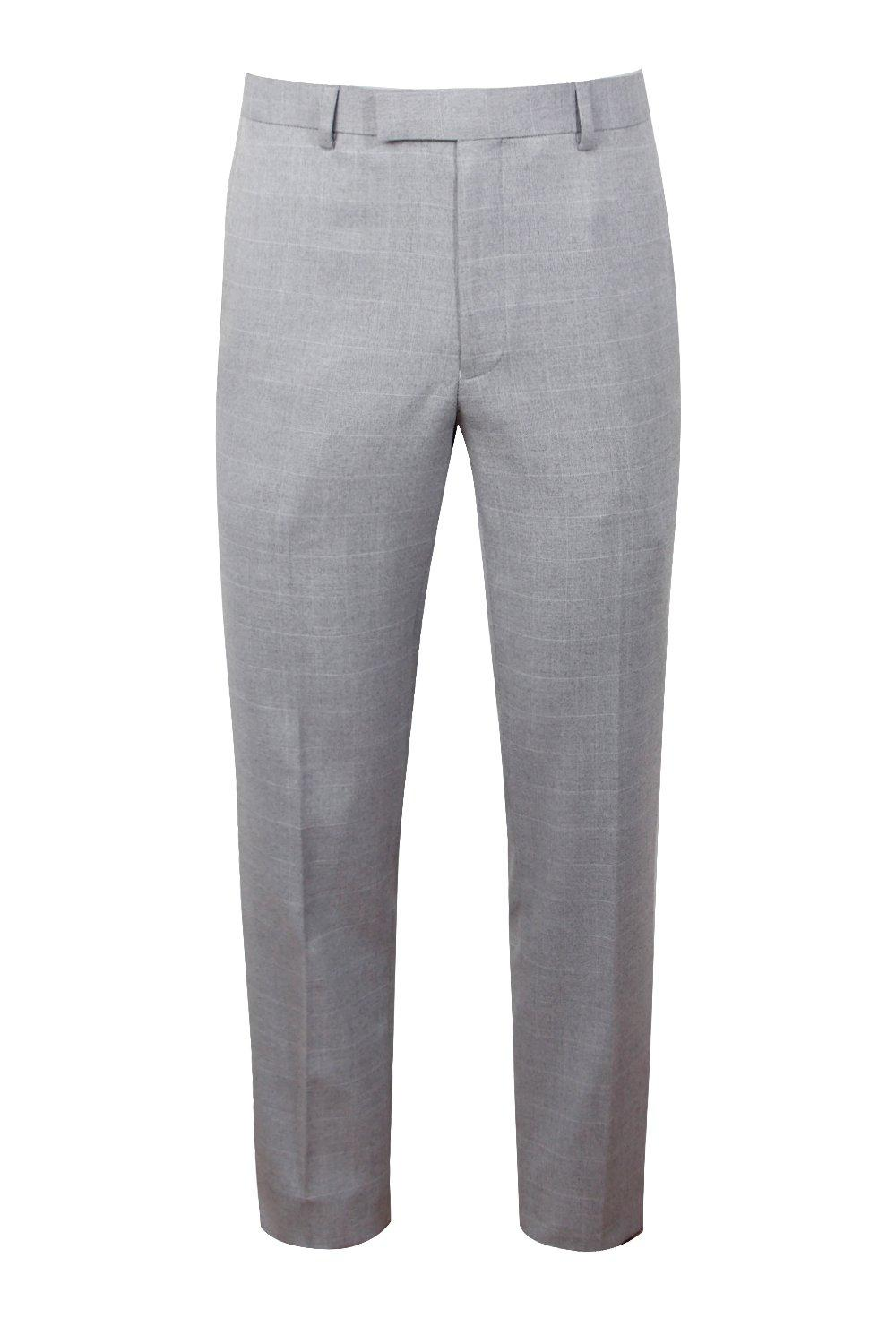 boohooMAN light grey Window Pane Check Skinny Fit Trouser