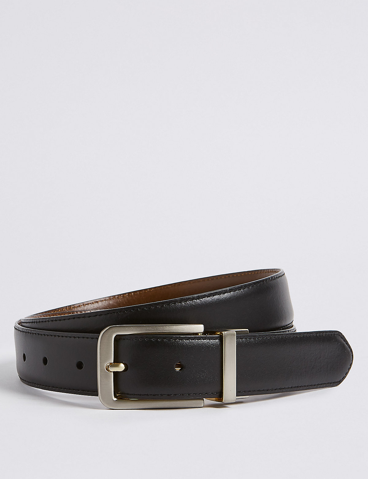Marks & Spencer Black And Brown Leather Rectangular Buckle Reversible Belt
