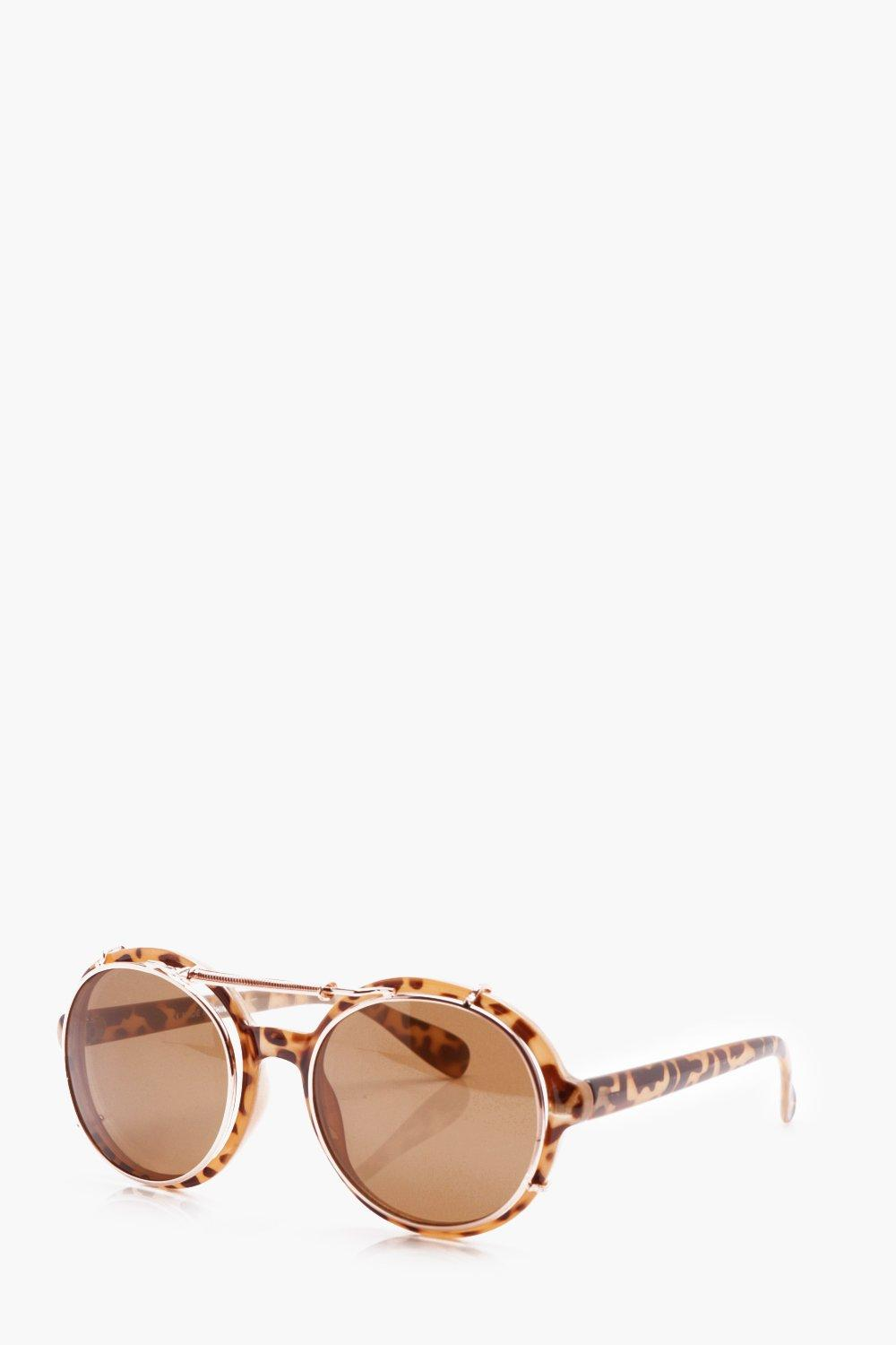 boohooMAN brown Tortoise Double Lens Sunglasses