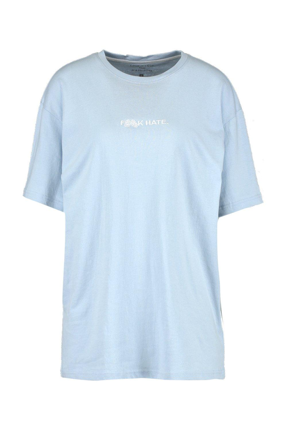 """boohooMAN pale blue Pride """"""""F**k Hate"""""""" T Shirt in Loose Fit"""
