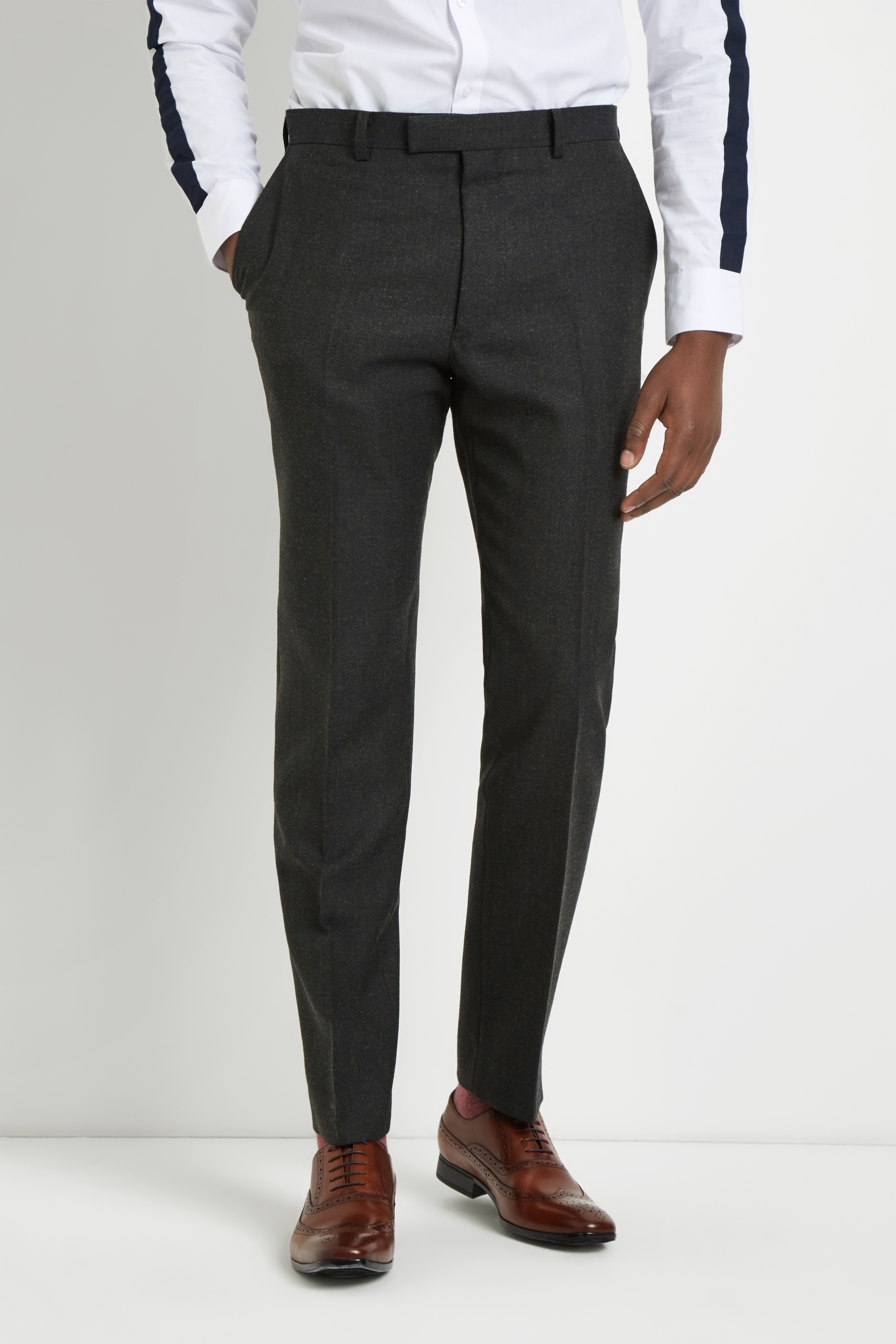 French Connection Slim Fit Olive Flannel Trousers