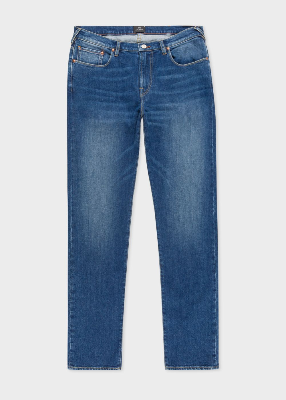 Paul Smith Men's Tapered-Fit 12oz 'Authentic Comfort Stretch' Mid-Wash Jeans