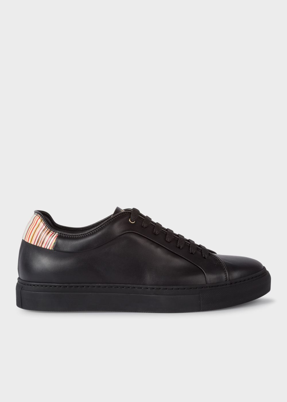 Paul Smith Men's Black Leather 'Basso' Trainers With Signature Stripe Trims