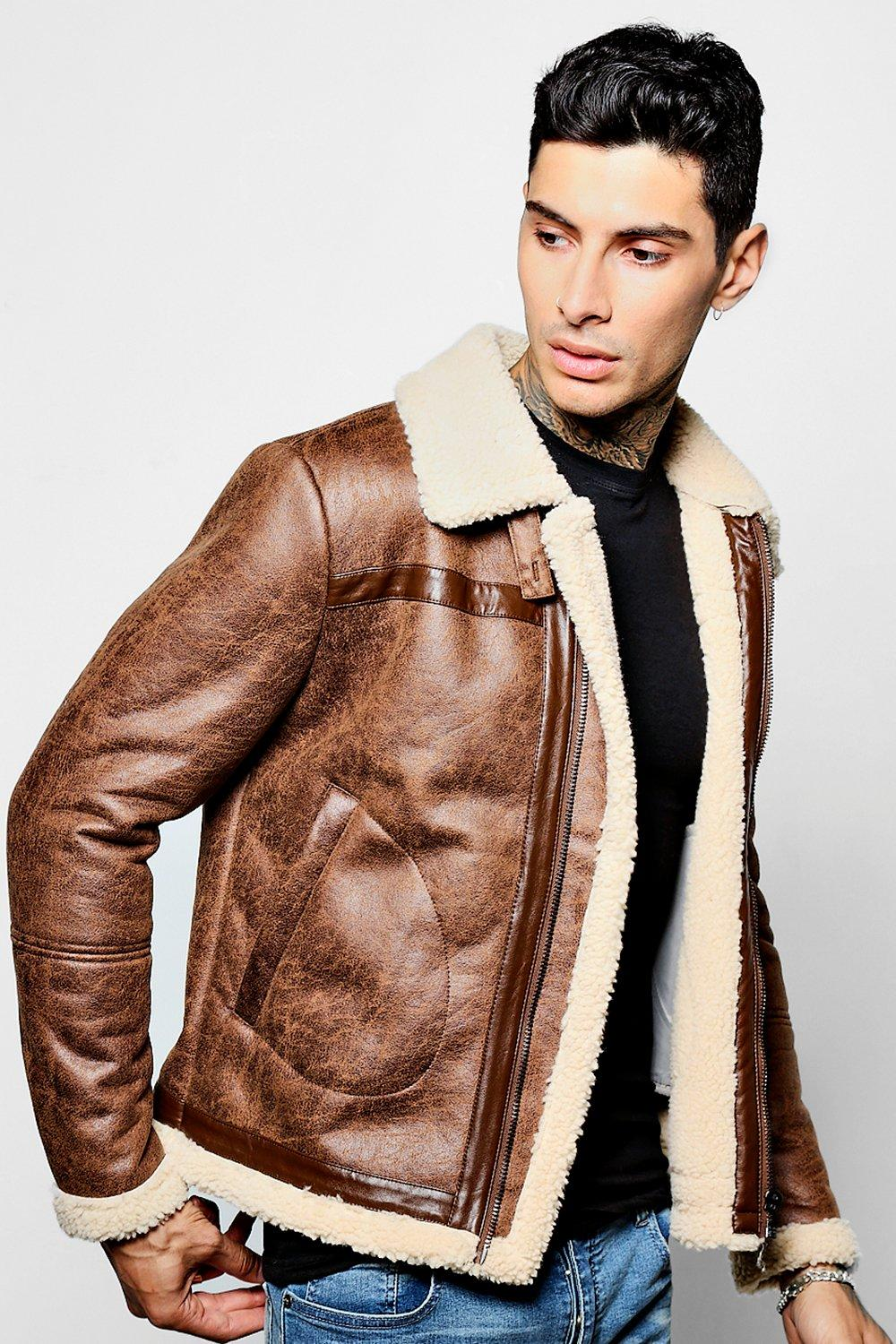 boohooMAN brown Borg Lined Zip Through Flight Jacket