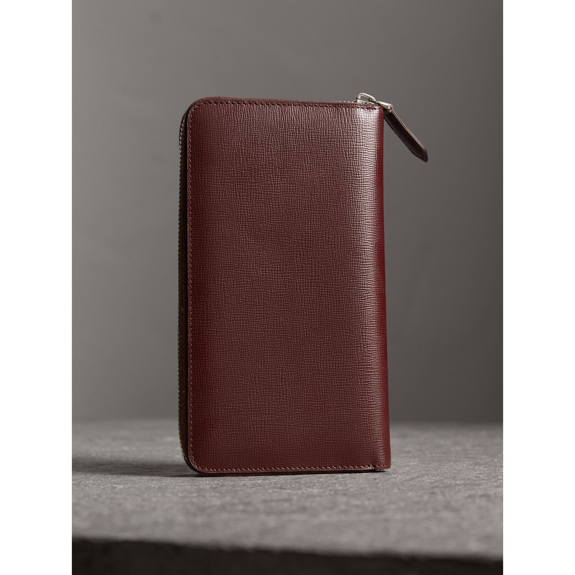 Burberry Burgundy Red London Leather Ziparound Wallet