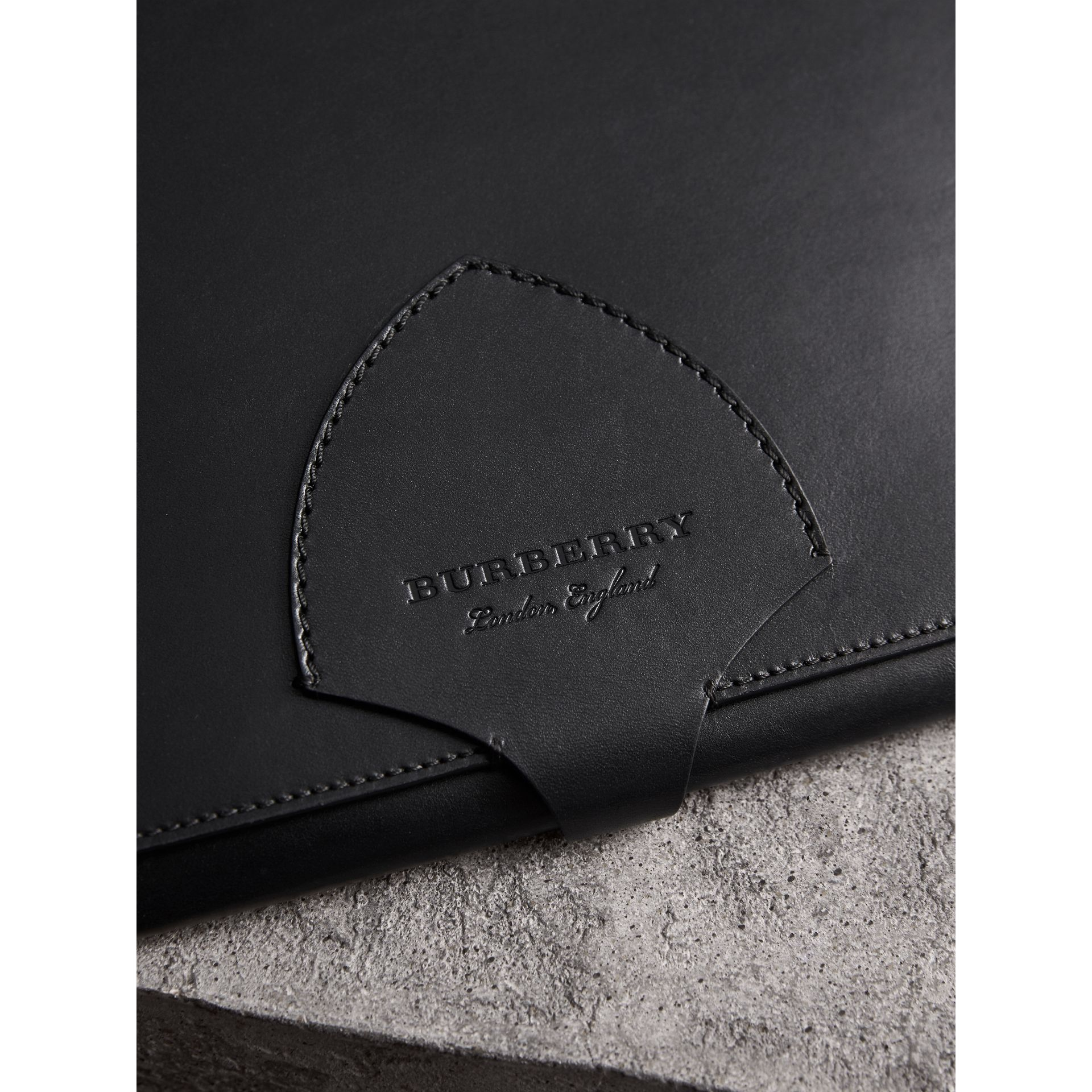 Burberry Black Equestrian Shield Leather A4 Document Case