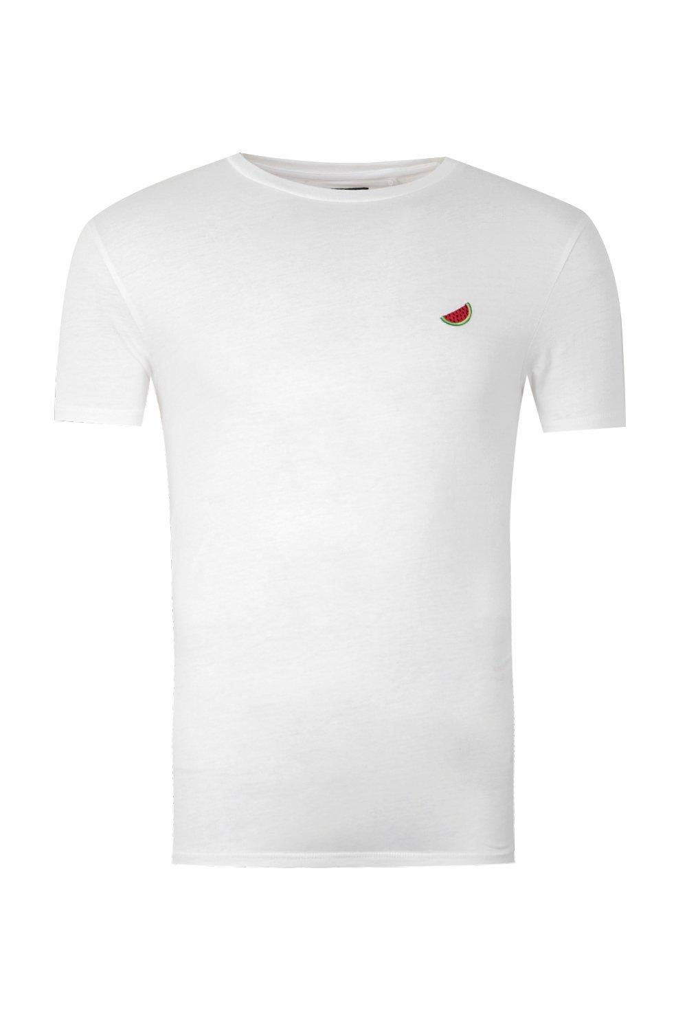 boohooMAN white Melon Embroidered T-Shirt