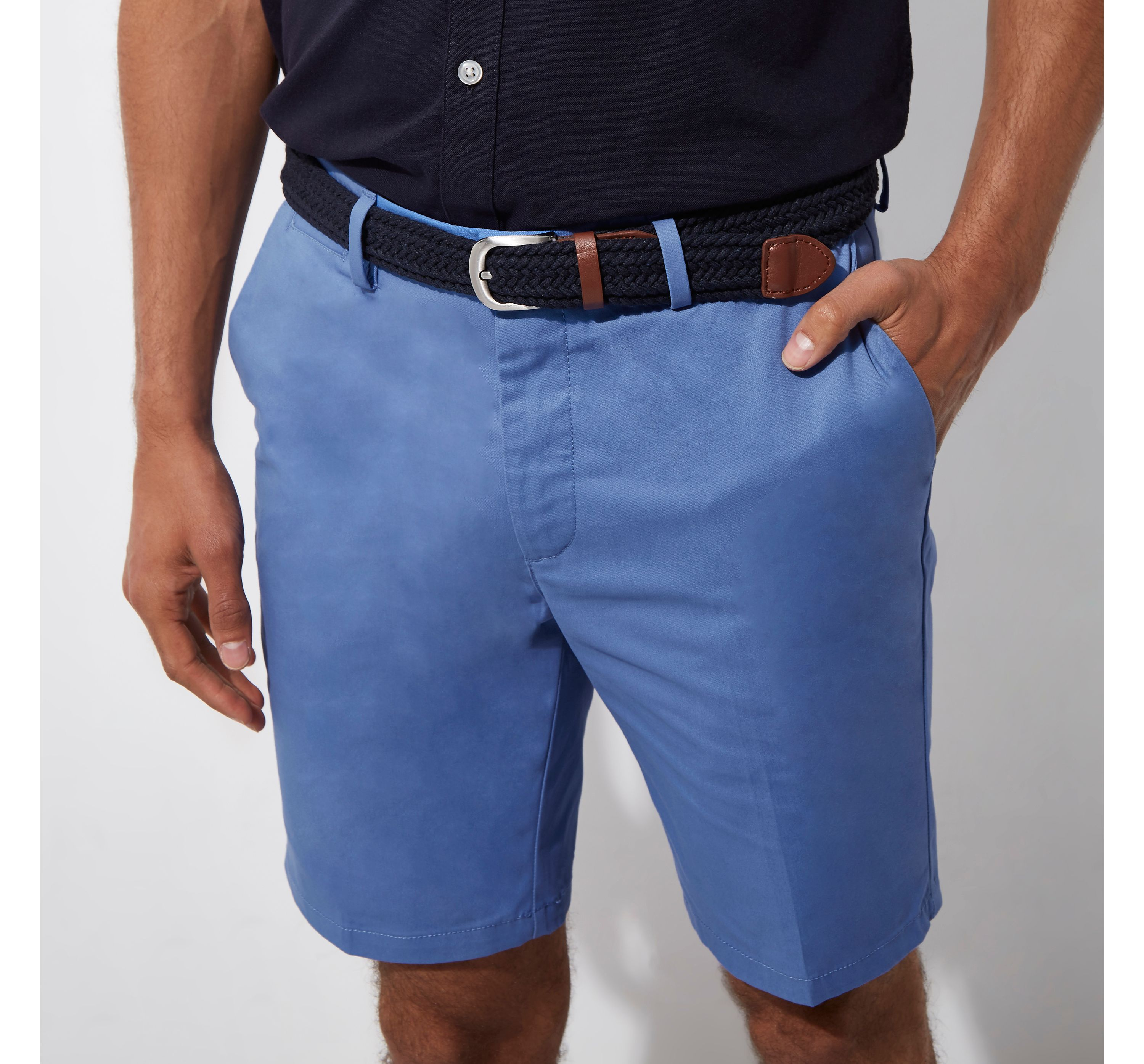 River Island Mens Blue belted shorts
