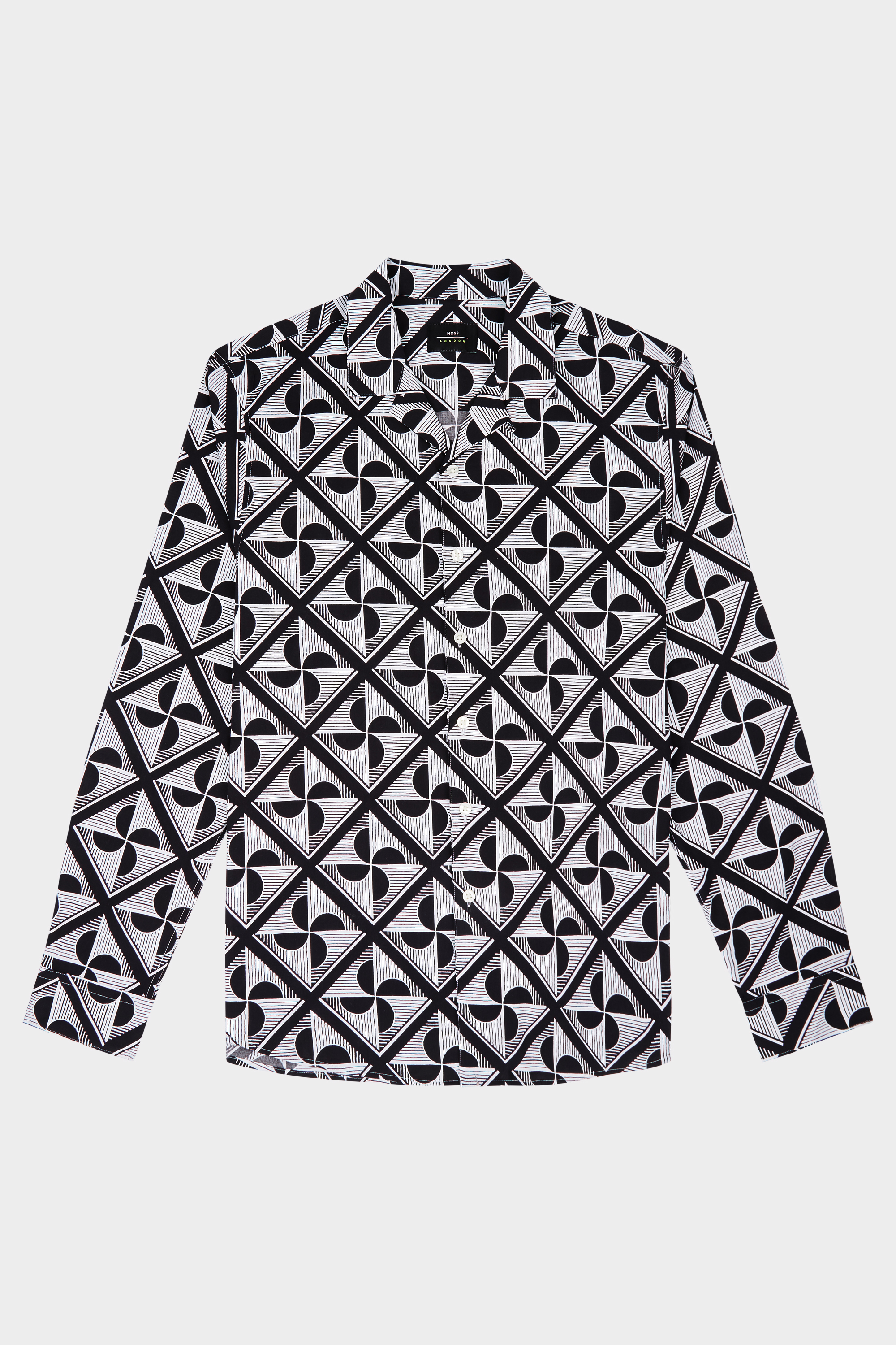 Moss Bros Moss London Skinny Fit Black & White Geo Print Casual Shirt