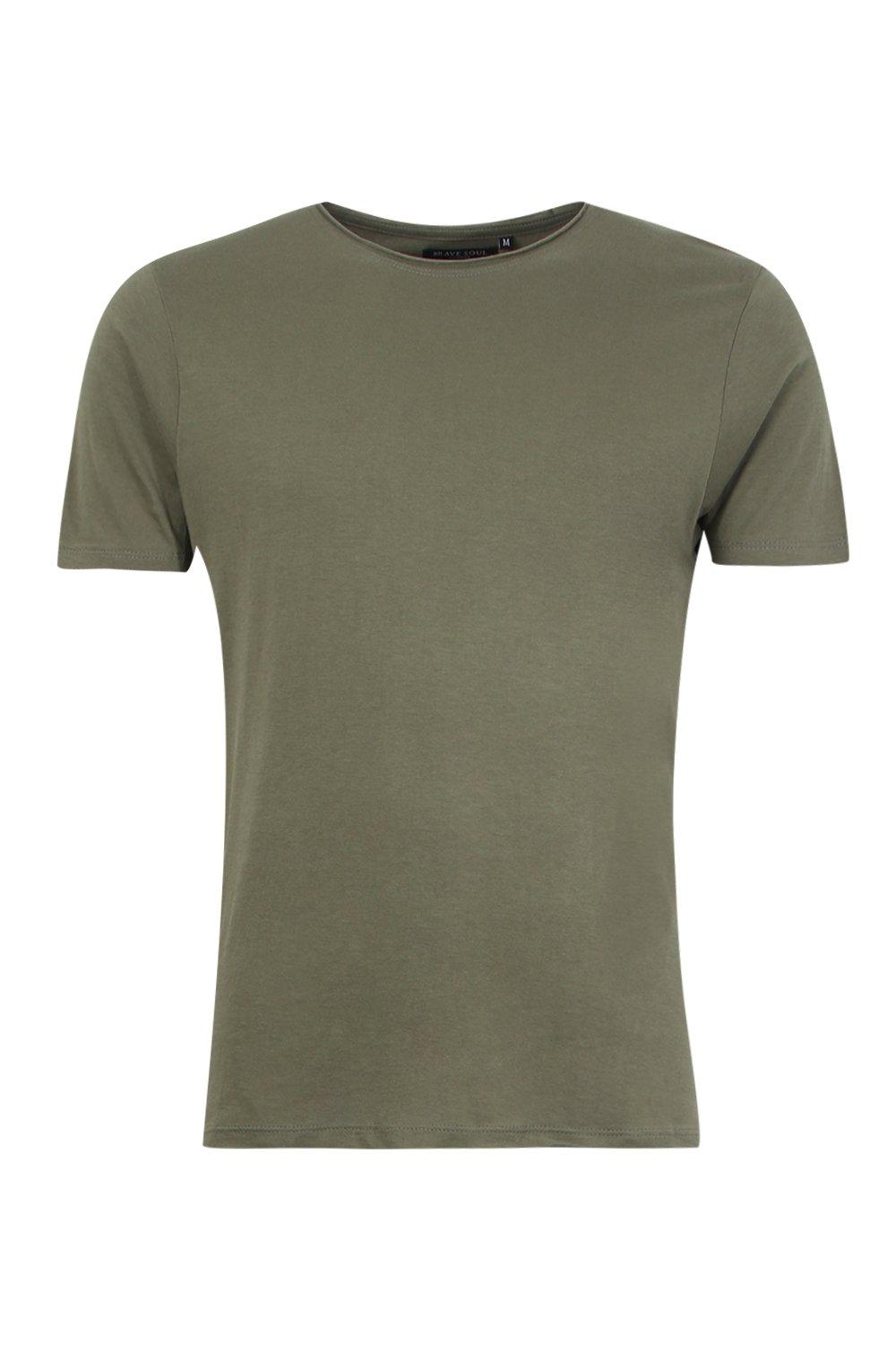 boohooMAN sage Raw Edge Crew Neck T-Shirt