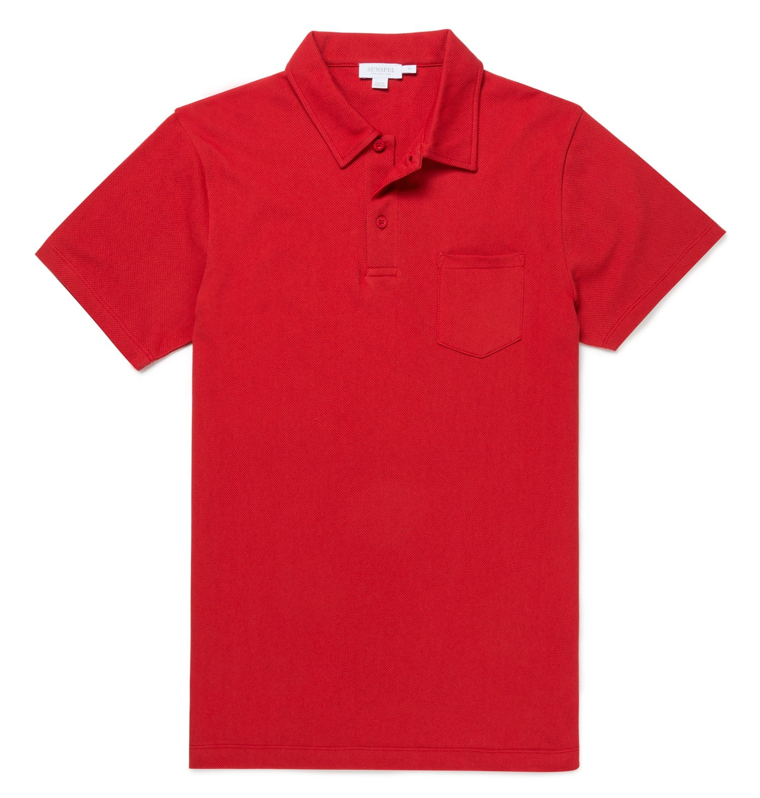 Sunspel Ruby Red Men's Cotton Riviera Polo Shirt