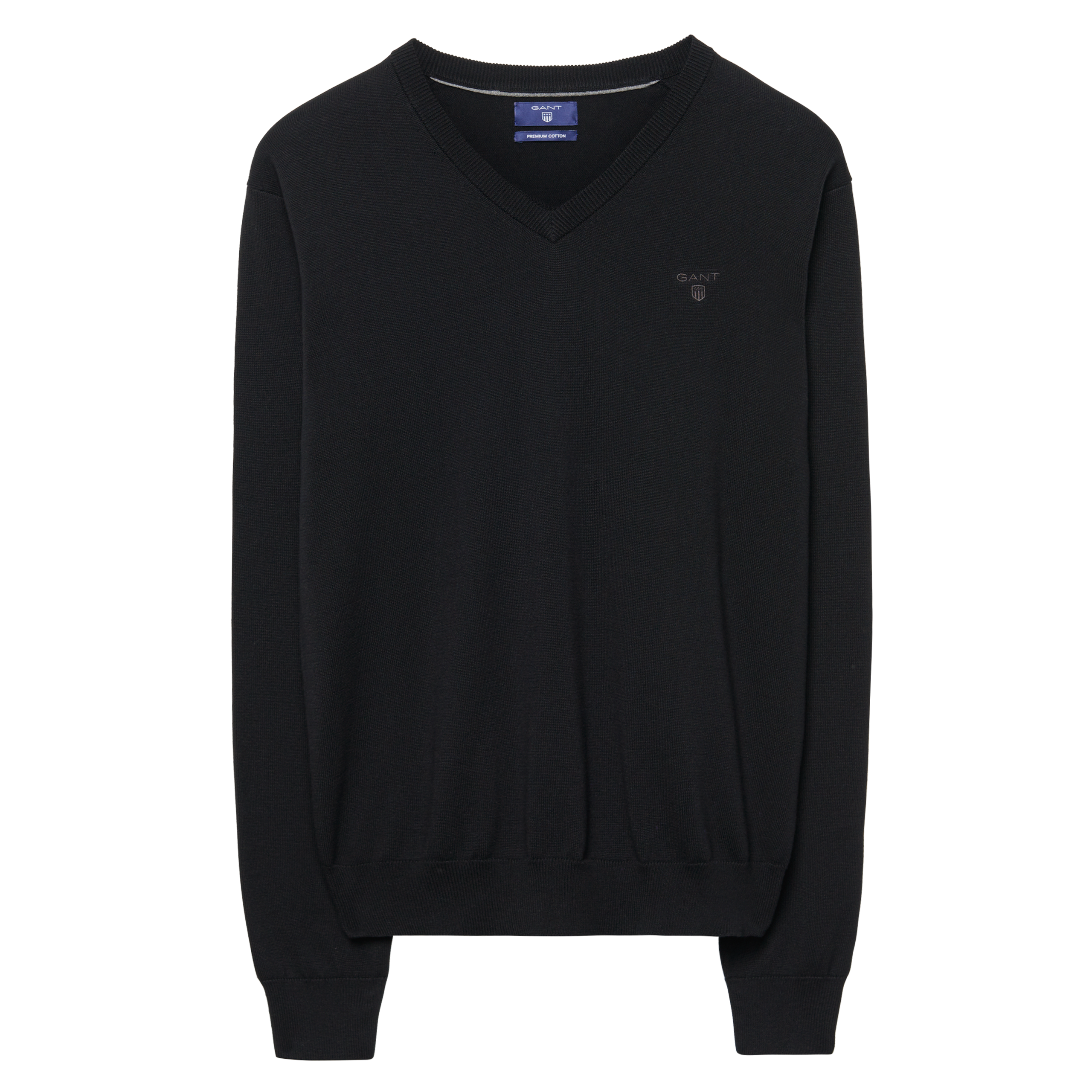 Gant Black Lt. Weight Cotton V-Neck