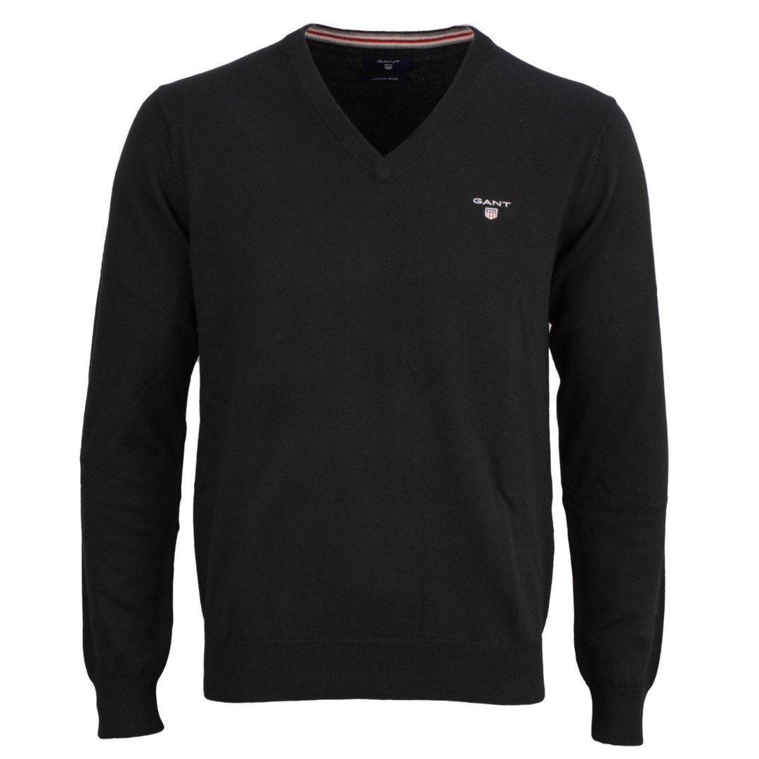 Gant Black Cotton Wool V-Neck
