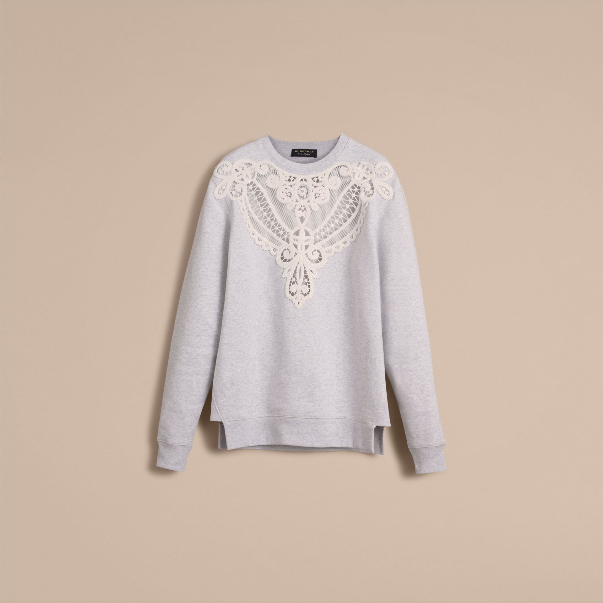 Burberry Light Grey Melange Unisex Lace Cutwork Sweatshirt