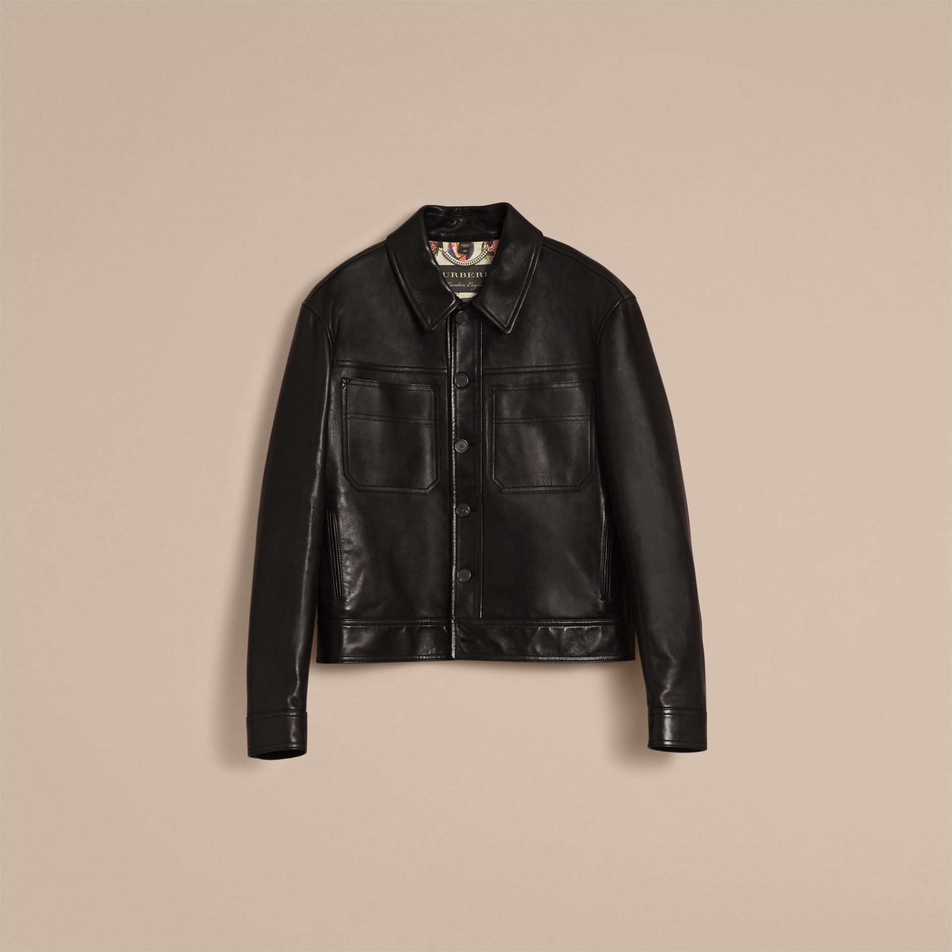Burberry Black Leather Trucker Jacket with Pallas Heads Print Lining