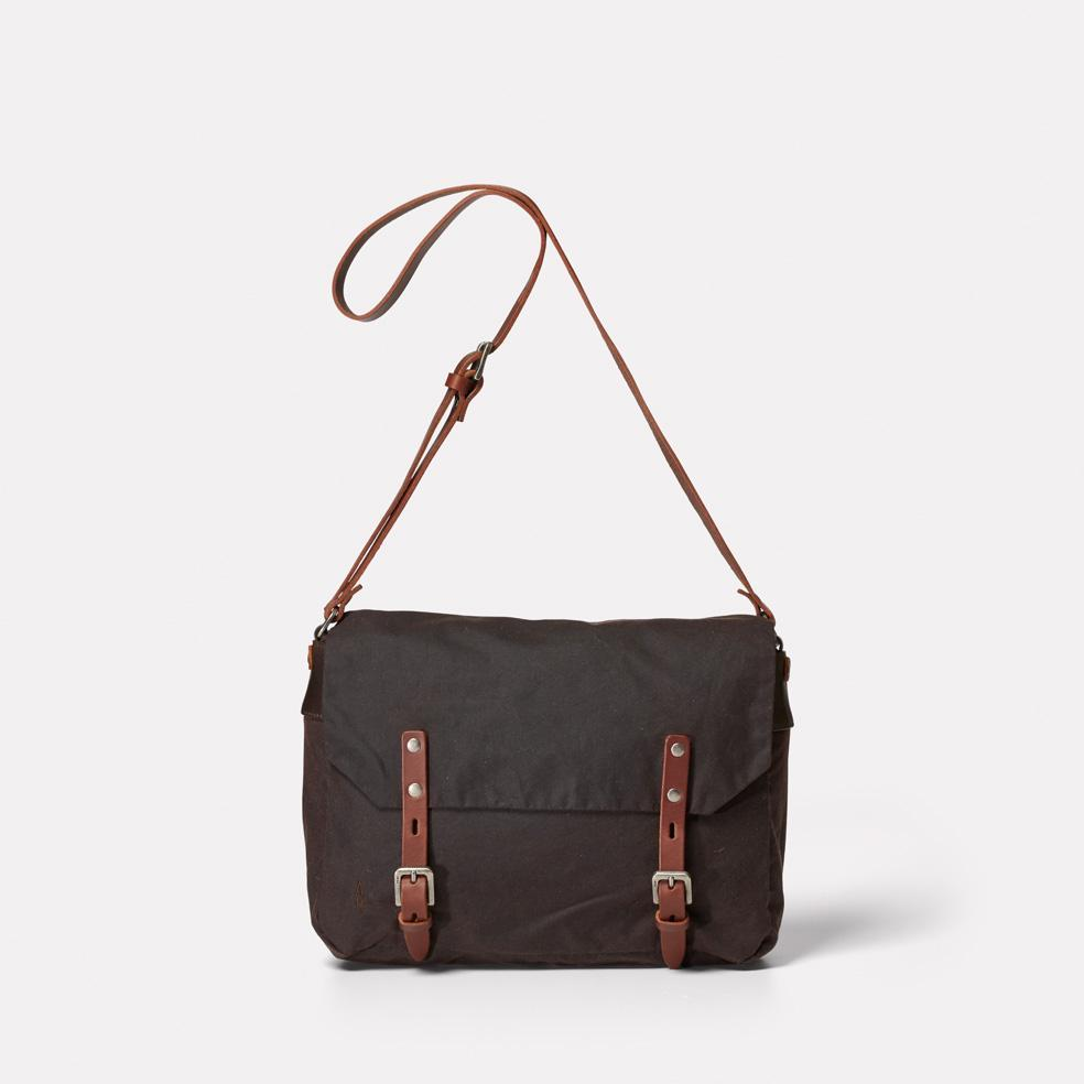 Ally Capellino Jeremy Small Waxed Cotton Satchel in Dark Brown