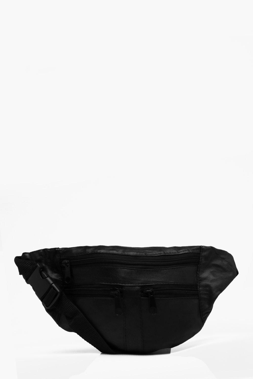 boohooMAN black Real Leather 3 Front Zip Bumbag