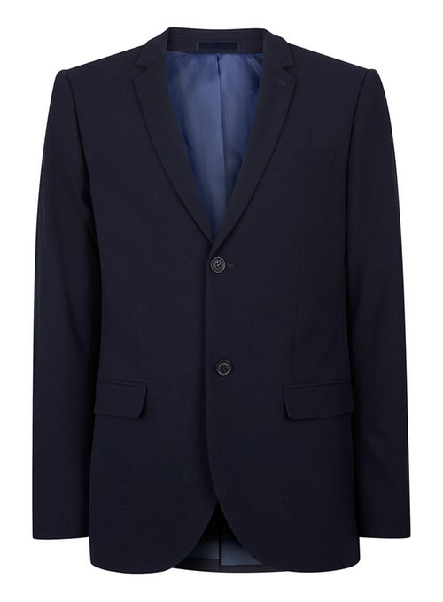 Topman Blue Navy skinny fit suit jacket containing wool