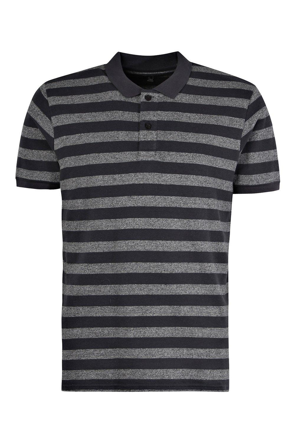 boohooMAN charcoal Yarn Dyed Striped Polo