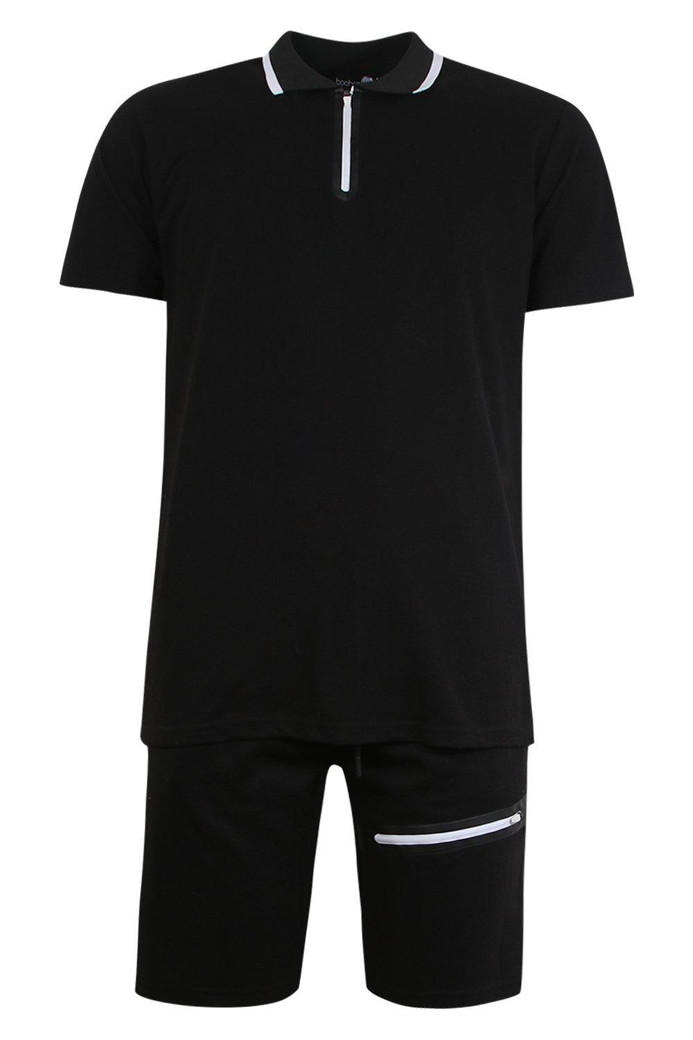 boohooMAN black Sports Zip Polo and Slim Mid Length Short Set