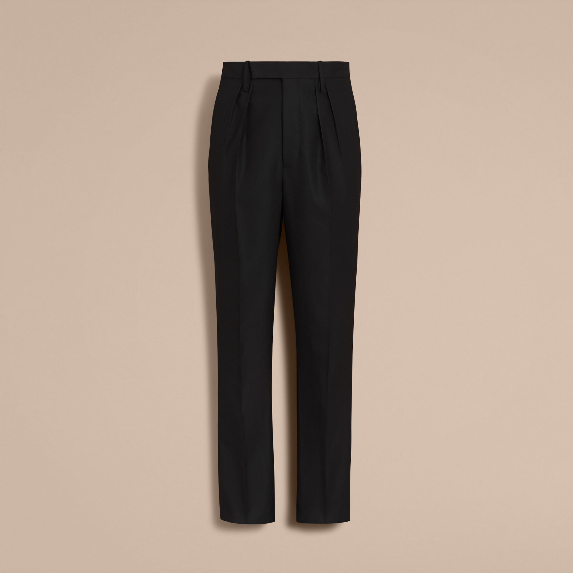Burberry Black English Wool Mohair High-waist Tailored Trousers