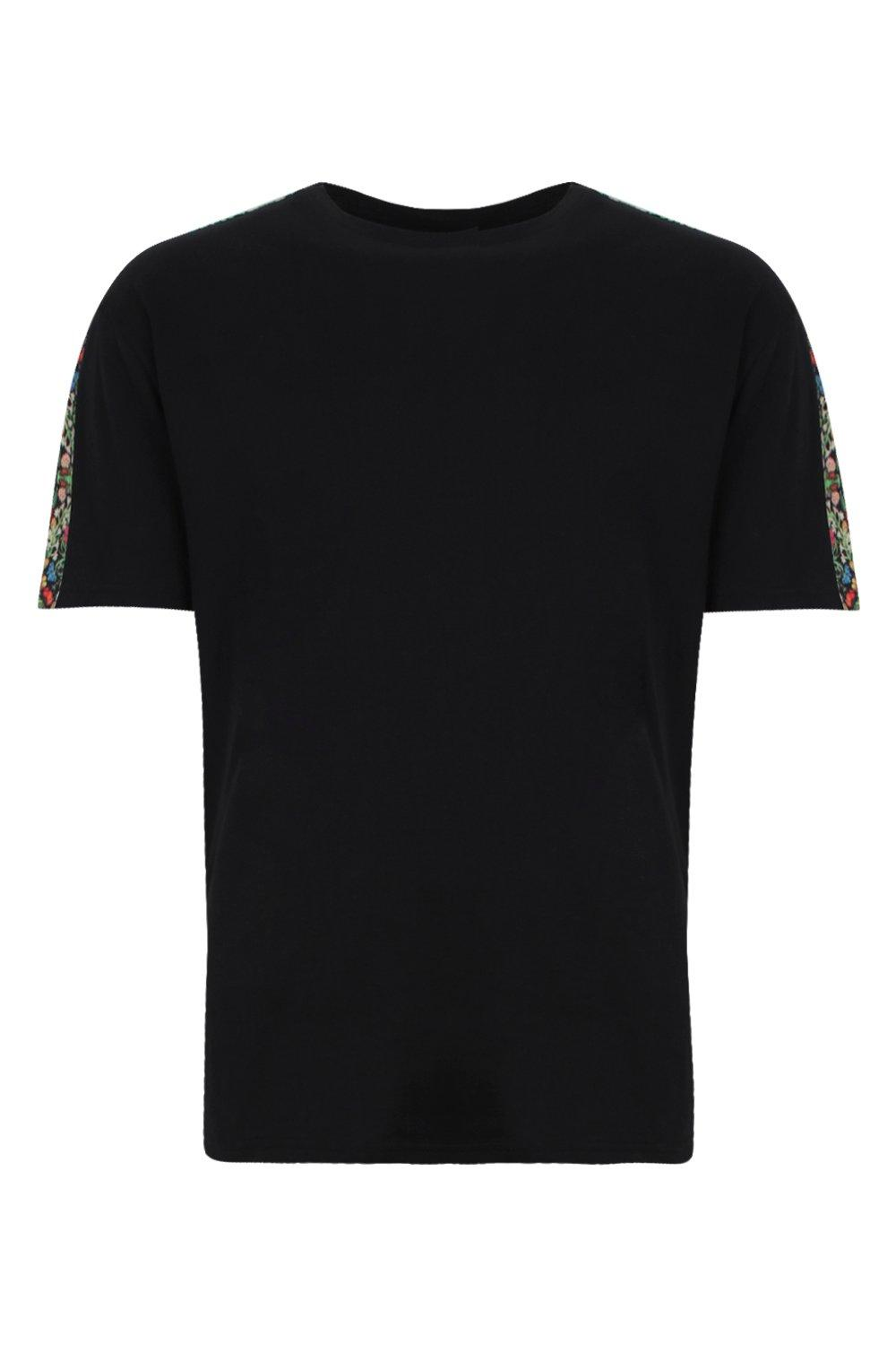 boohooMAN black Printed Panel Sleeve Tee