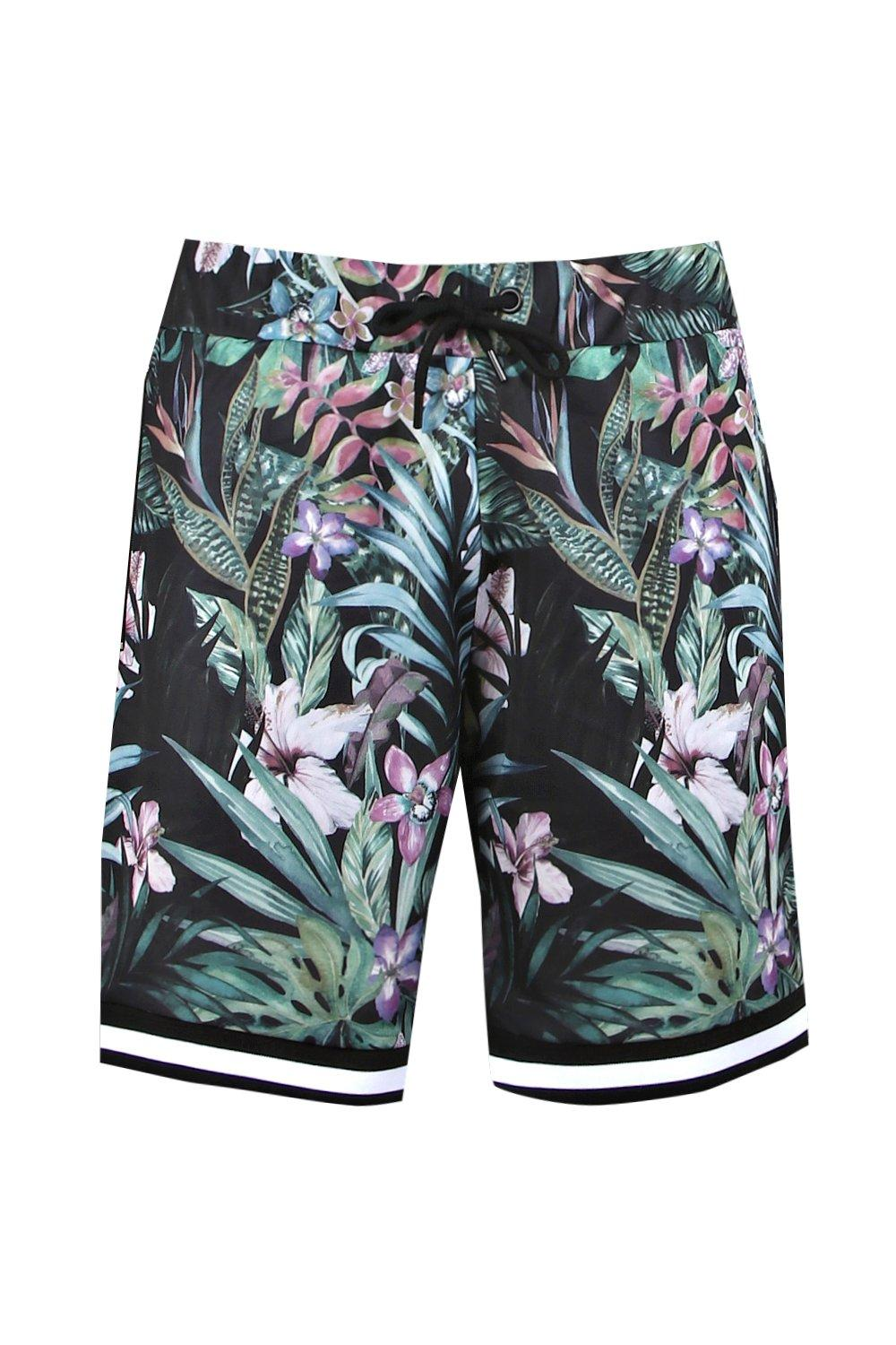 boohooMAN black Floral All Over Print Mid Length Short