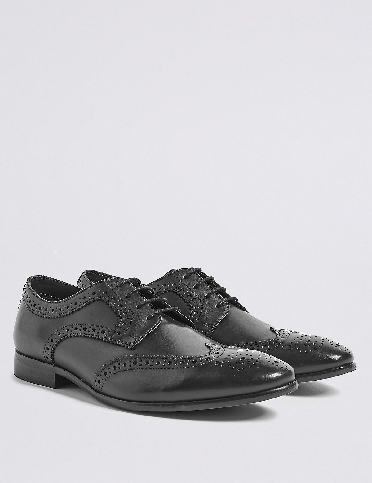 Marks & Spencer Black Leather Almond Toe Brogue Shoes