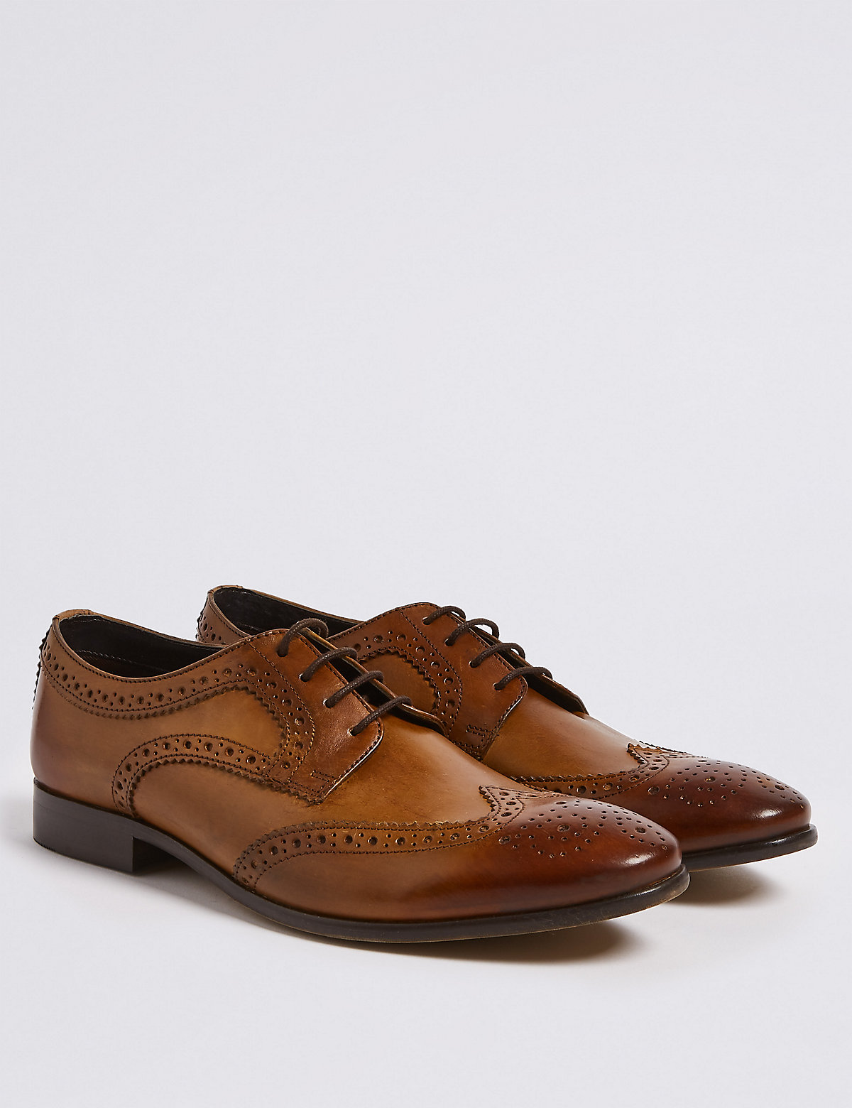 Marks & Spencer Chestnut Leather Almond Toe Brogue Shoes