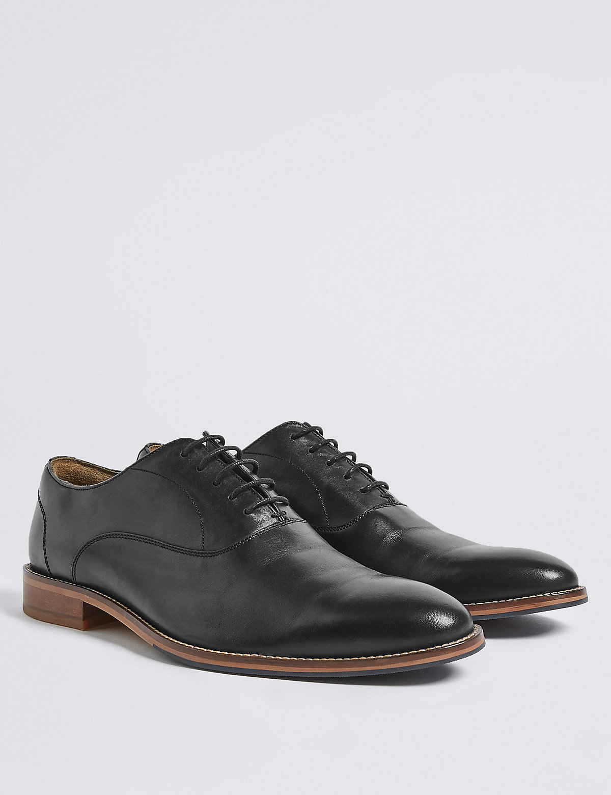 Marks & Spencer Black Leather Layered Derby Shoes
