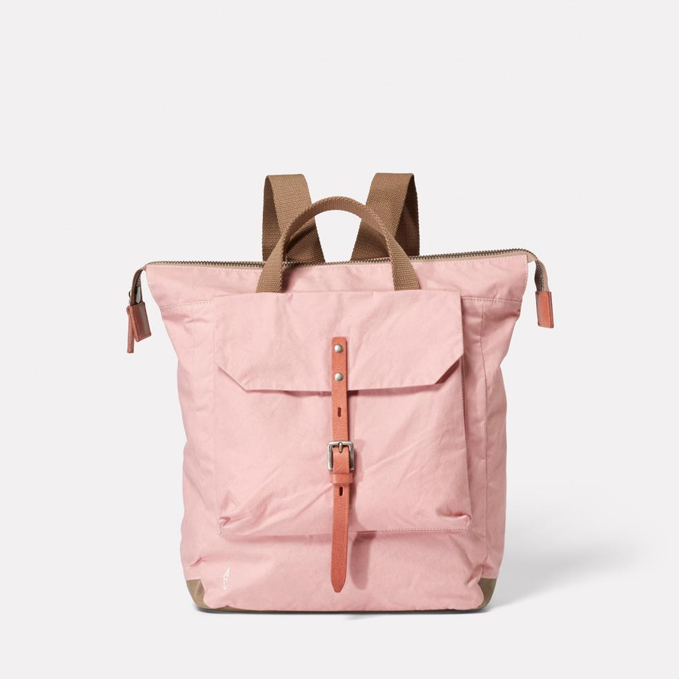 Ally Capellino Frances Waxed Cotton Utility Rucksack in Chalky Pink