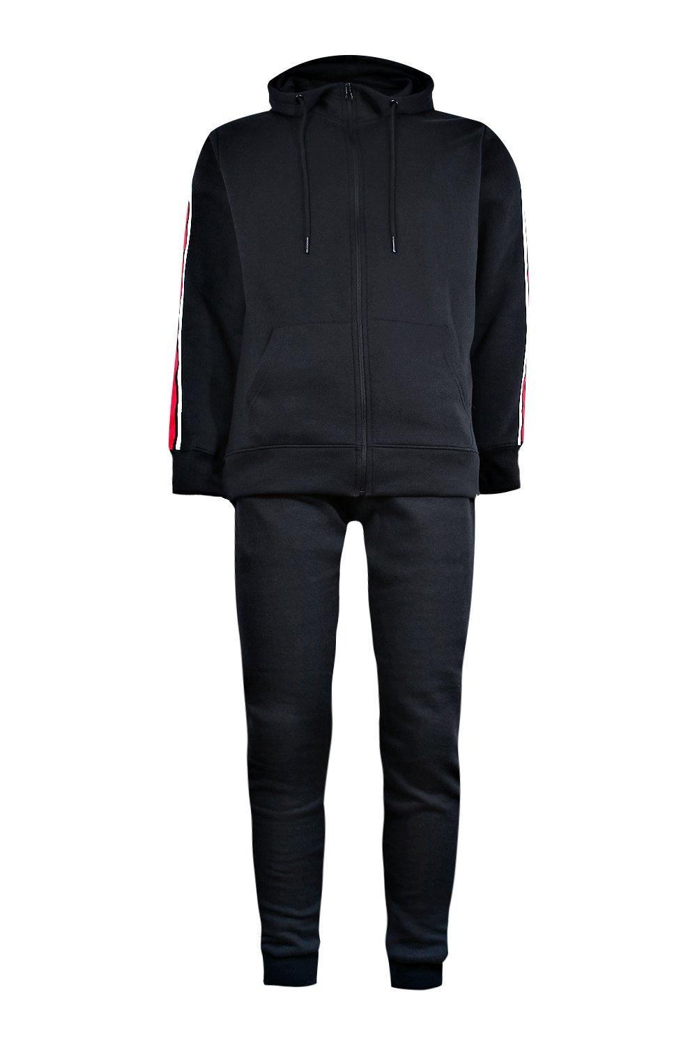 boohooMAN black Zip Through Hooded Tracksuit With Side Taping