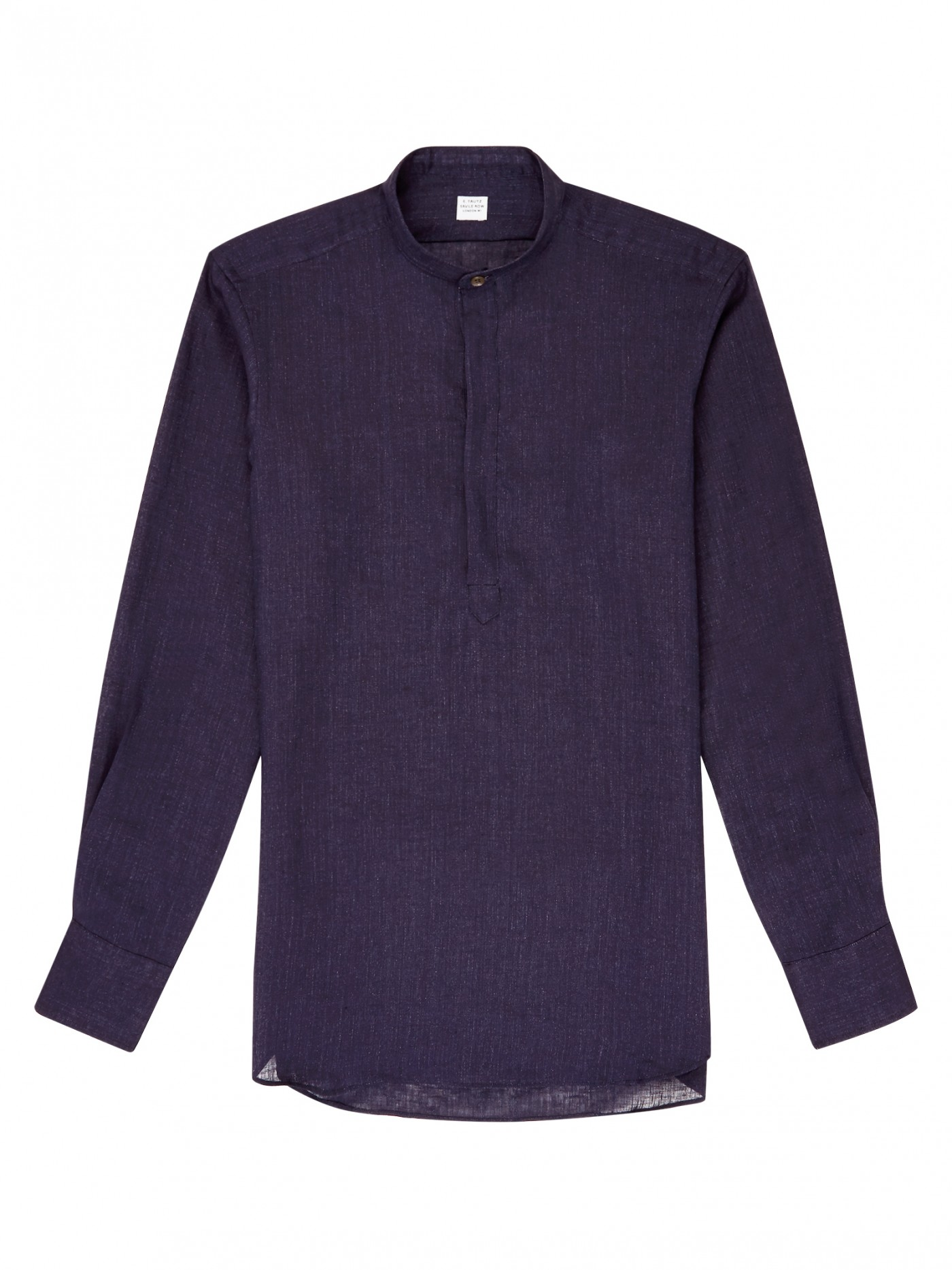 E. Tautz Navy Linen Slim Fit Grandad Collar Shirt