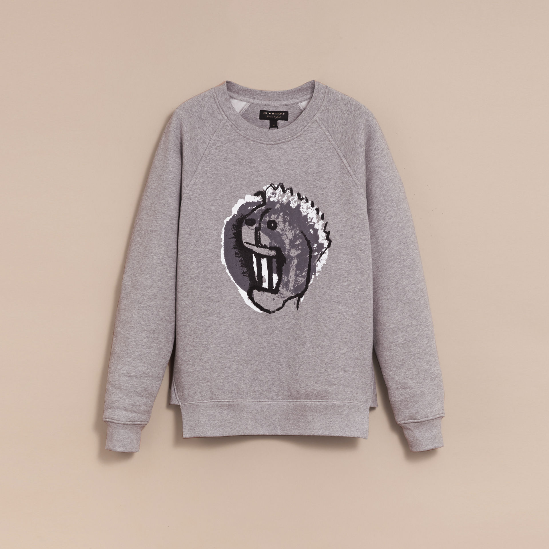 Burberry Grey Melange Unisex Pallas Heads Motif Sweatshirt