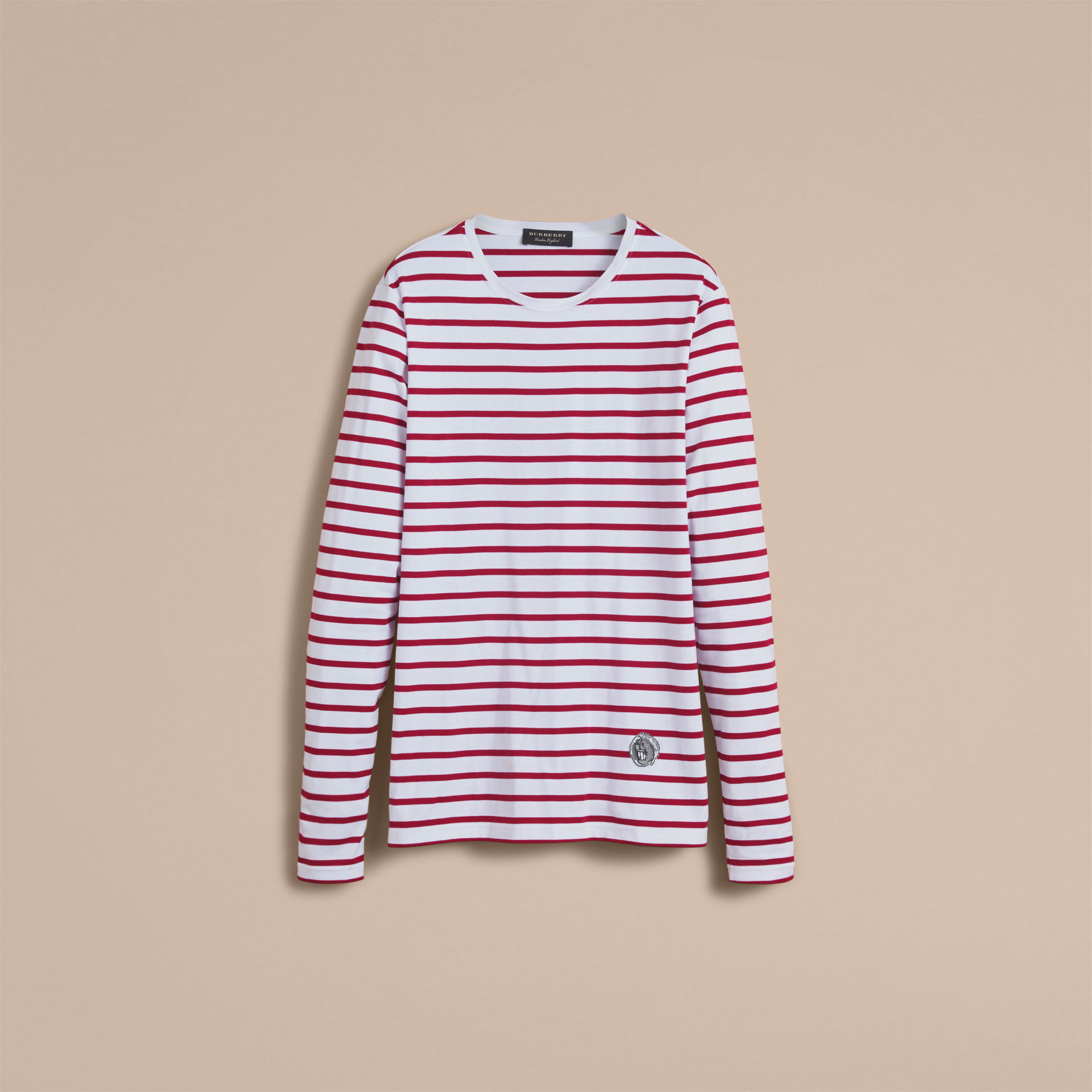Burberry Parade Red Unisex Pallas Heads Motif Breton Stripe Cotton Top