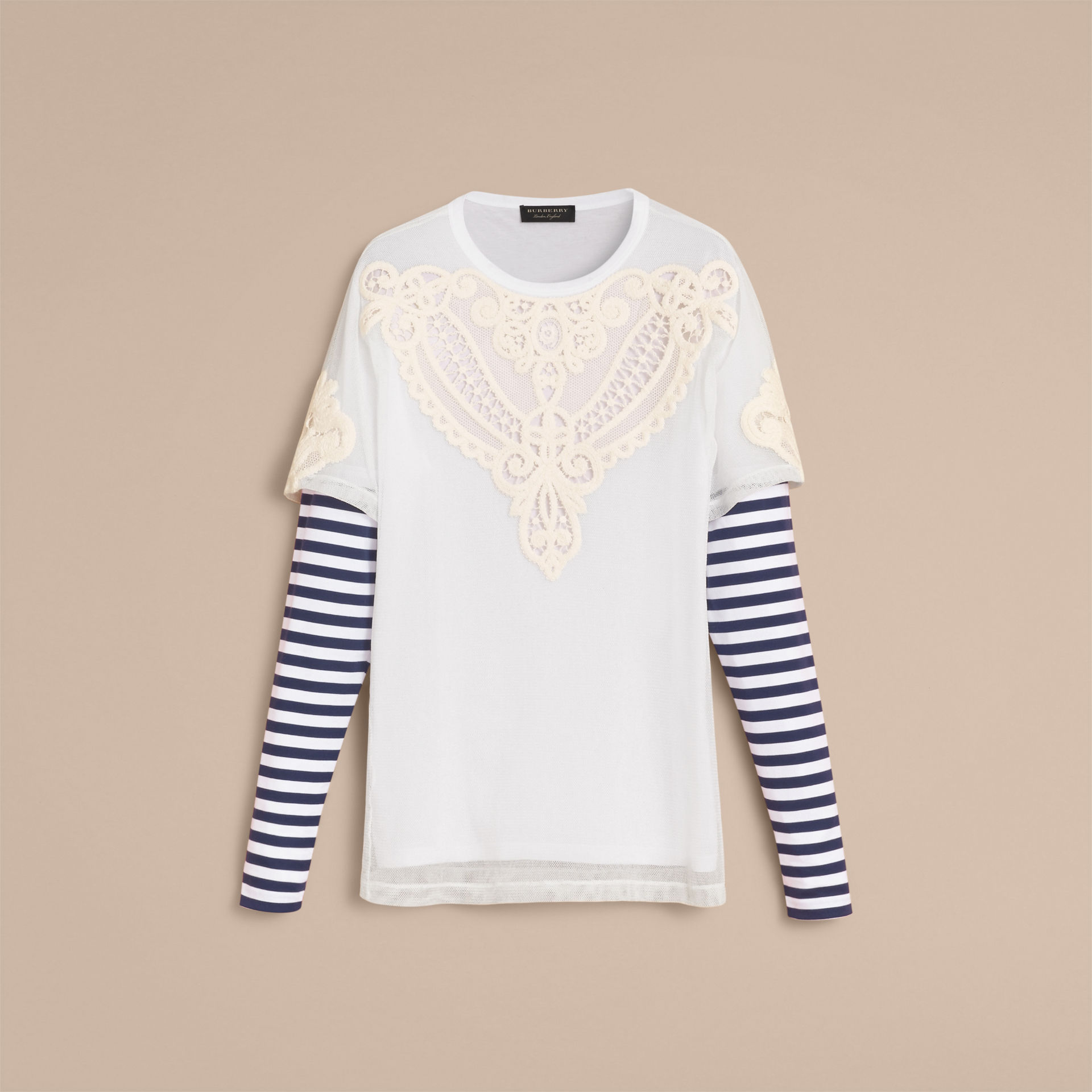 Burberry White Breton Stripe-sleeve Lace Tulle Overlay Cotton Top